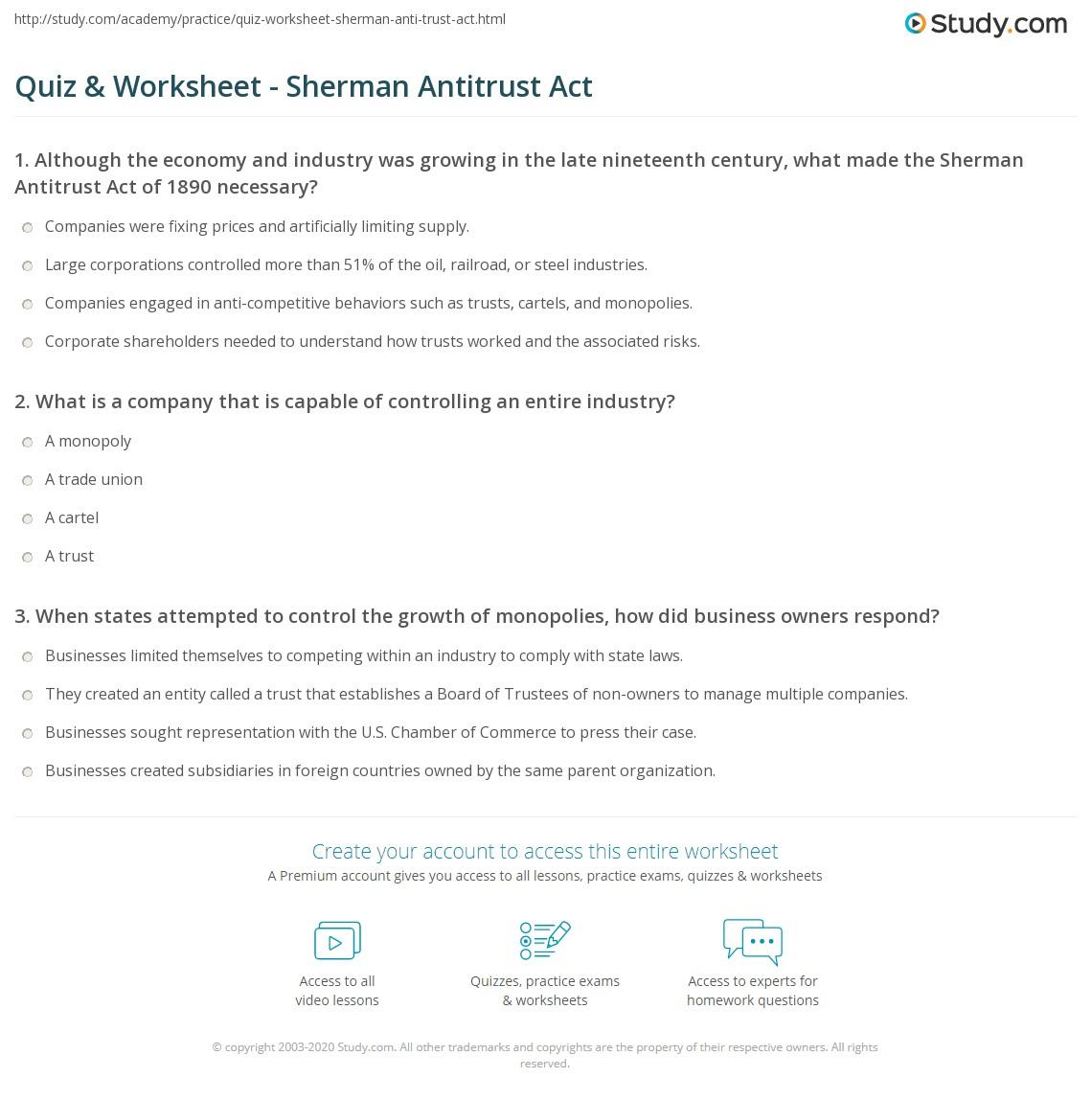 worksheet Act Prep Math Worksheets quiz worksheet sherman antitrust act study com print the of 1890 summary overview worksheet