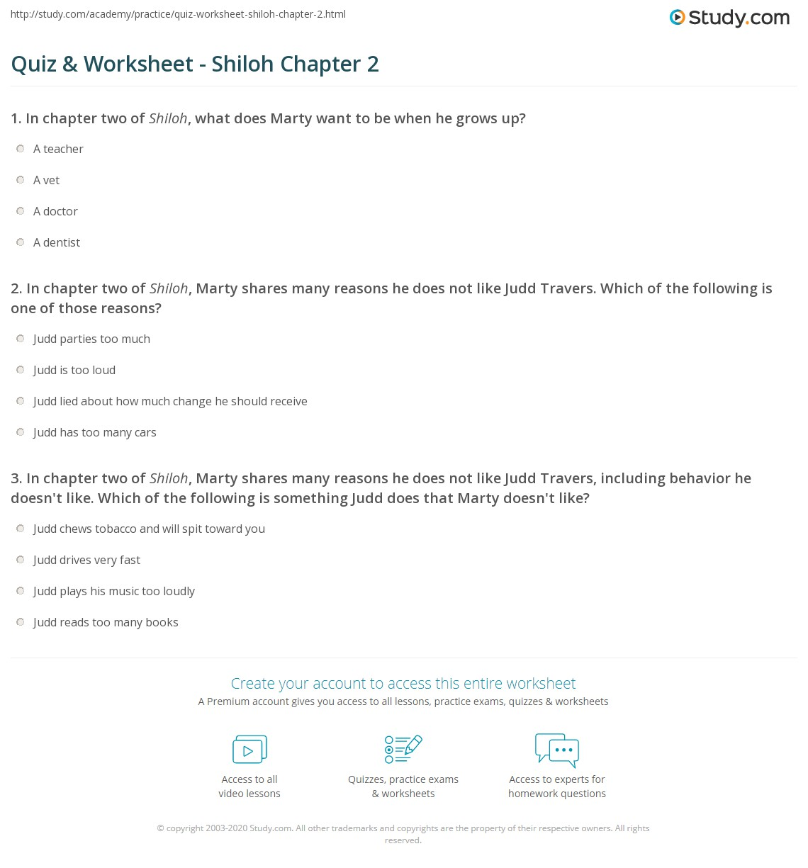 quiz worksheet shiloh chapter com in chapter two of shiloh marty shares many reasons he does not like judd travers which of the following is one of those reasons