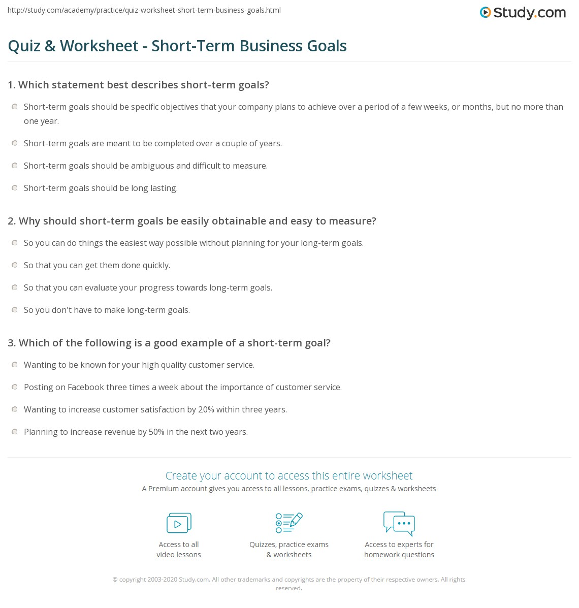 quiz & worksheet - short-term business goals | study