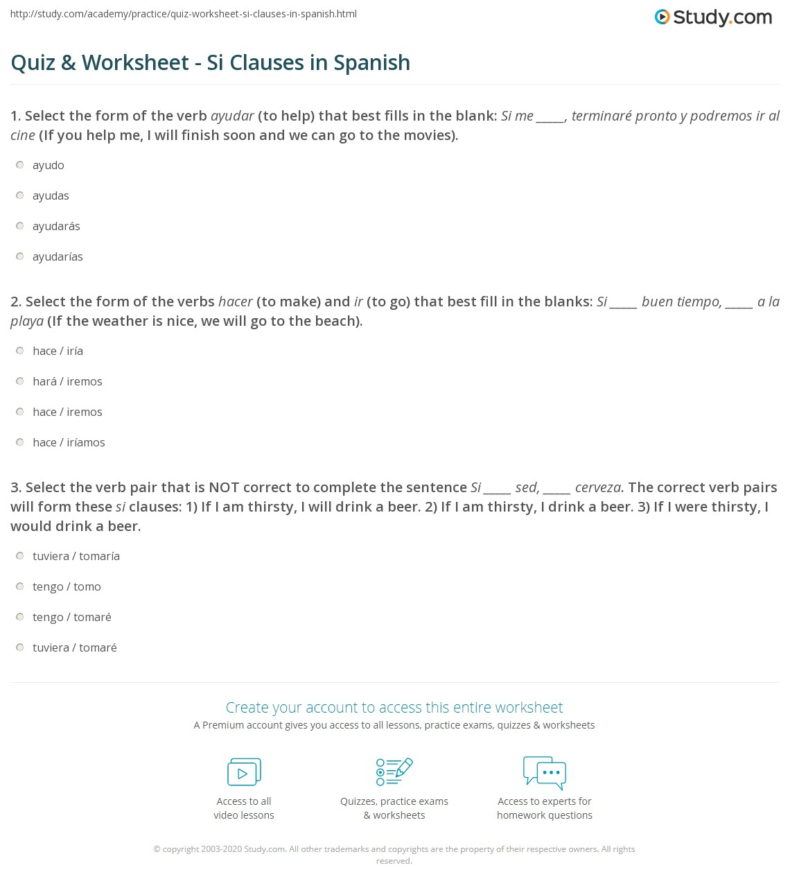 Quiz Worksheet Si Clauses In Spanish Study