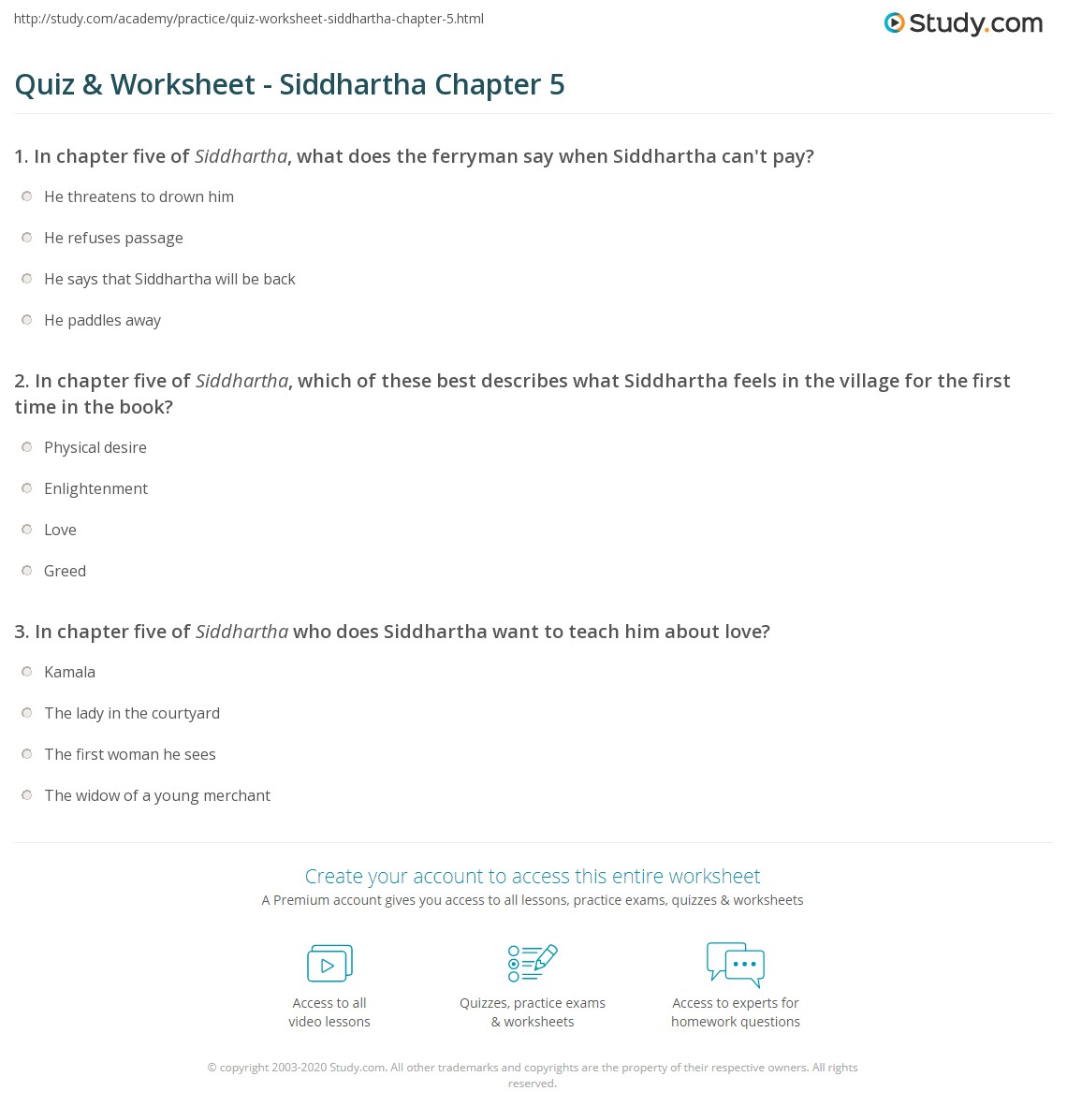quiz worksheet siddhartha chapter 5 study com rh study com Anthem Study Guide Questions siddhartha discussion questions and answers