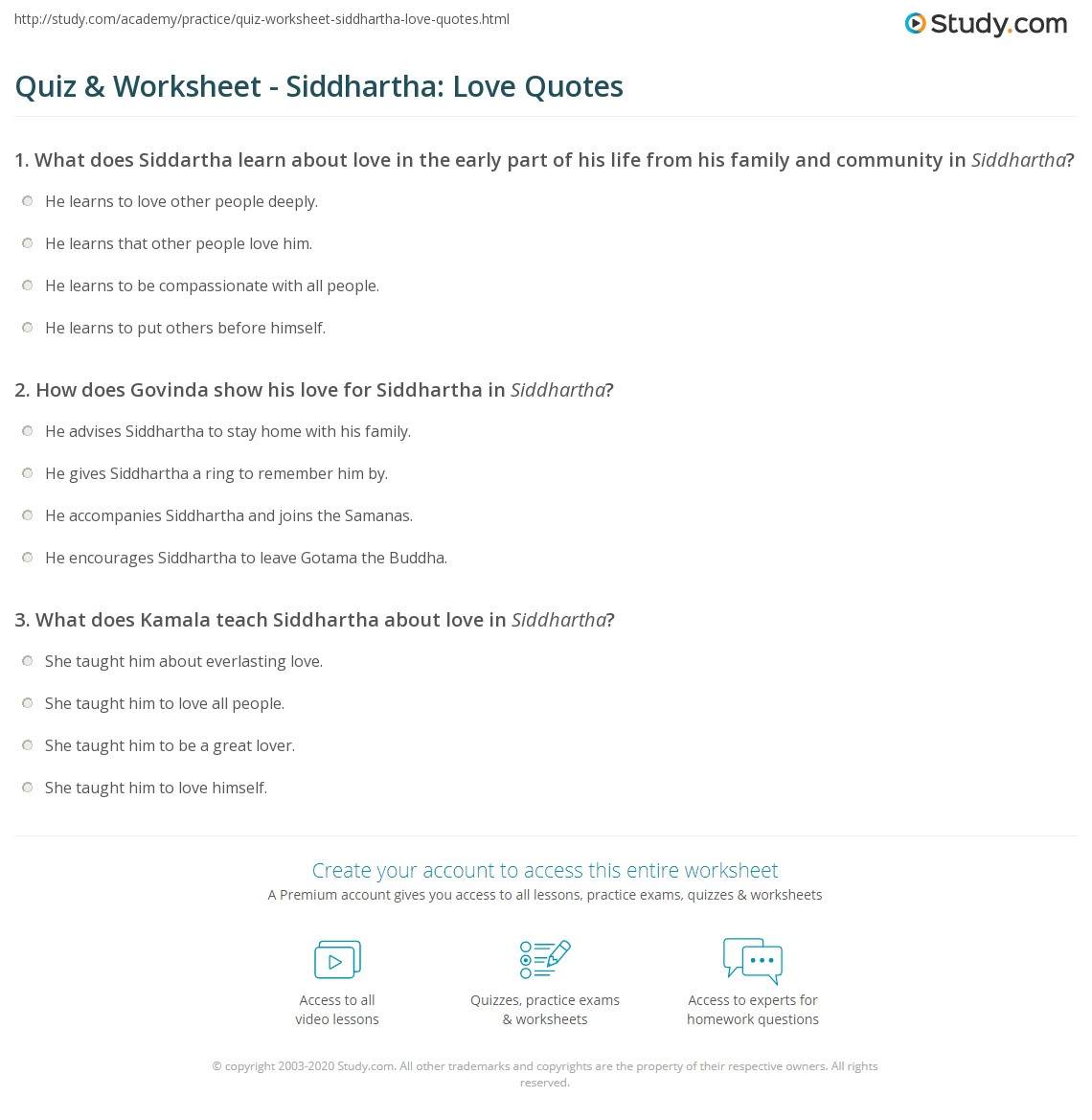 Everlasting Love Quotes Quiz & Worksheet  Siddhartha Love Quotes  Study