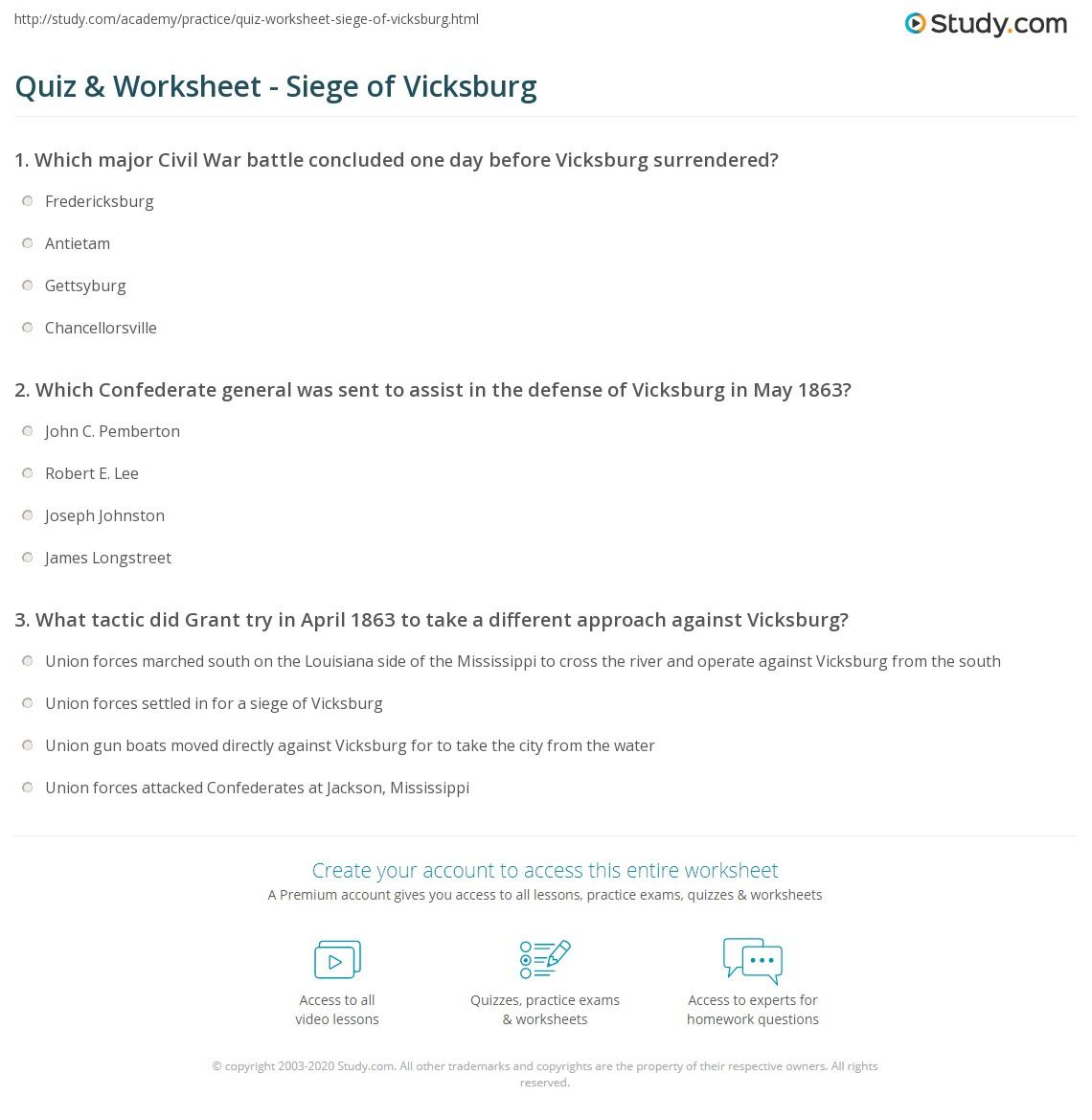 Quiz Worksheet Siege of Vicksburg – Civil War Map Worksheet