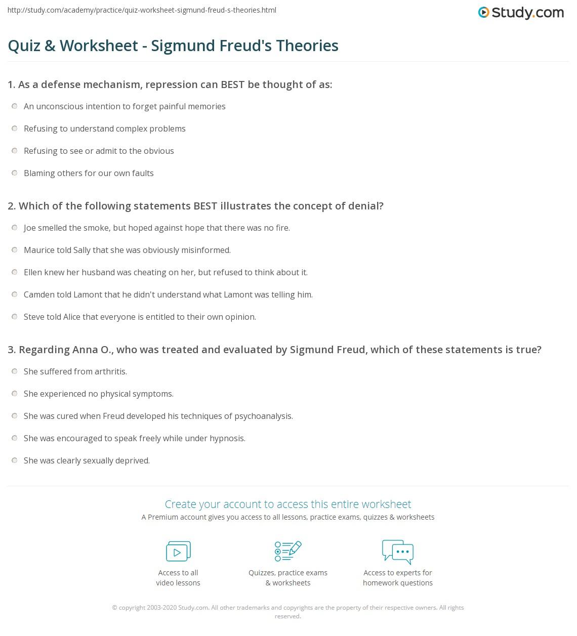 Quiz Worksheet Sigmund Freud S Theories Study Com