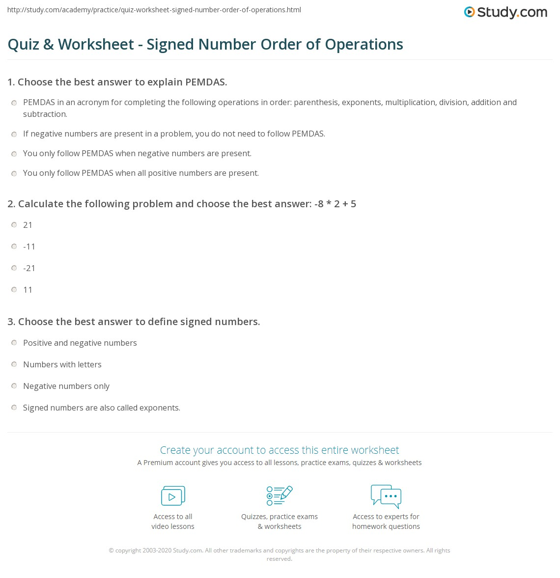 worksheet Pemdas Practice Problems quiz worksheet signed number order of operations study com calculate the following problem and choose best answer 8 2 5