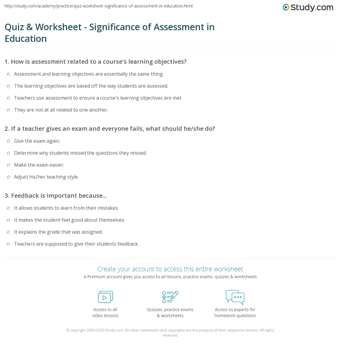 Quiz & Worksheet - Significance of Assessment in Education | Study.com