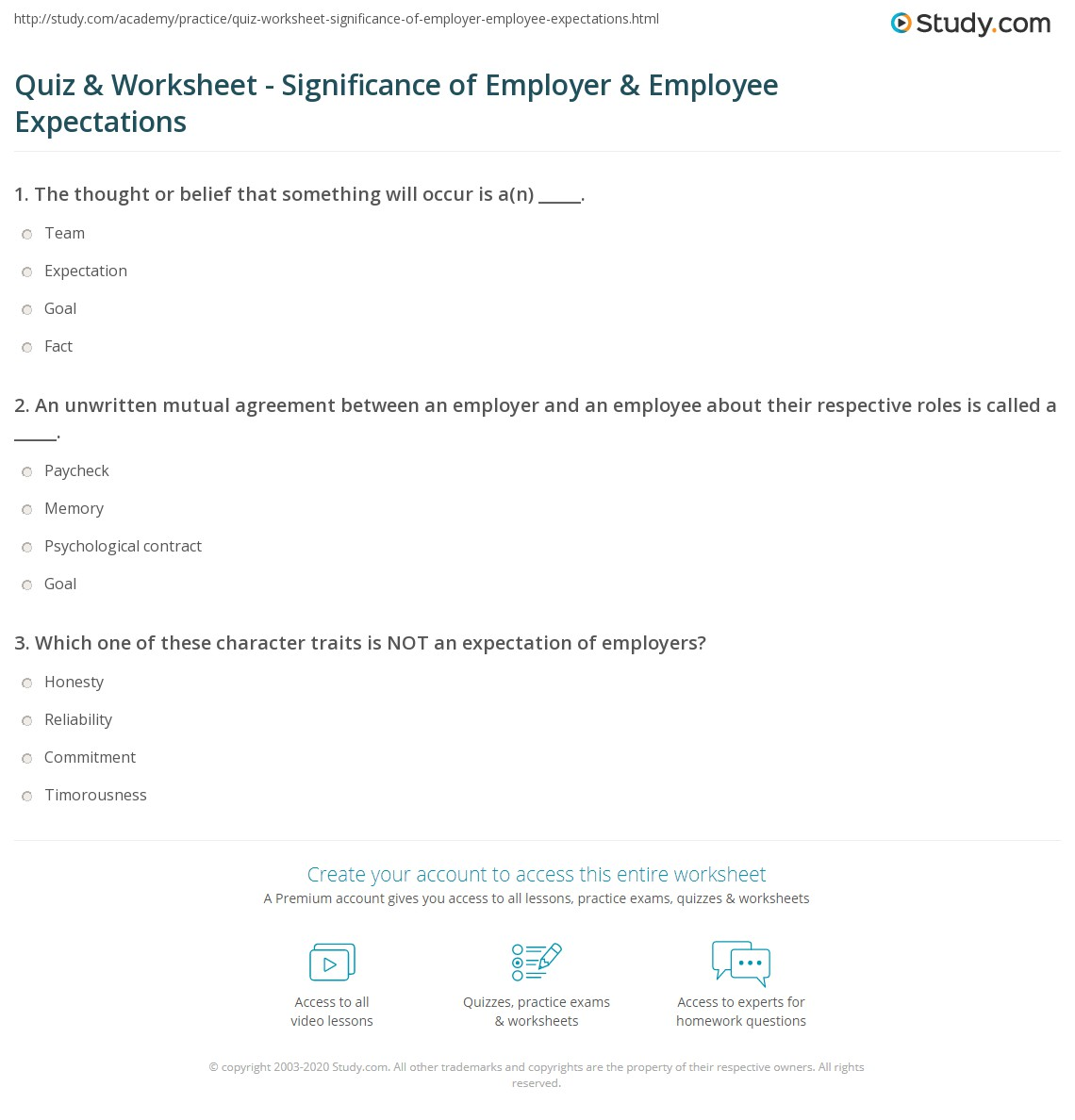 quiz worksheet significance of employer employee print the importance of employer employee expectations worksheet