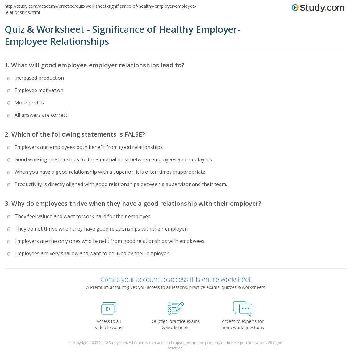 employer employee relationship test free