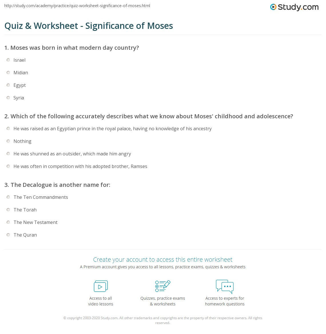 Quiz & Worksheet - Significance of Moses | Study.com - photo#42