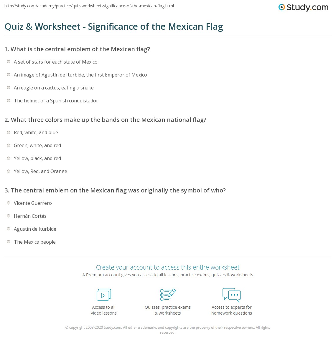 Quiz Worksheet Significance Of The Mexican Flag Study