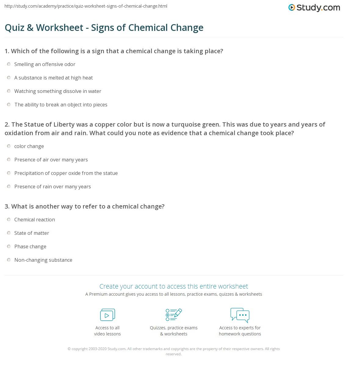 quiz worksheet signs of chemical change. Black Bedroom Furniture Sets. Home Design Ideas