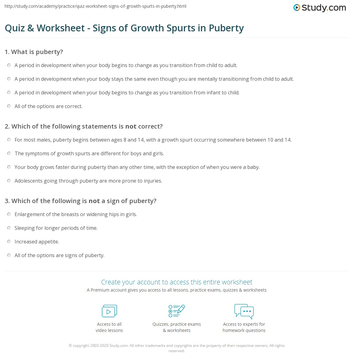 Quiz & Worksheet Signs of Growth Spurts in Puberty