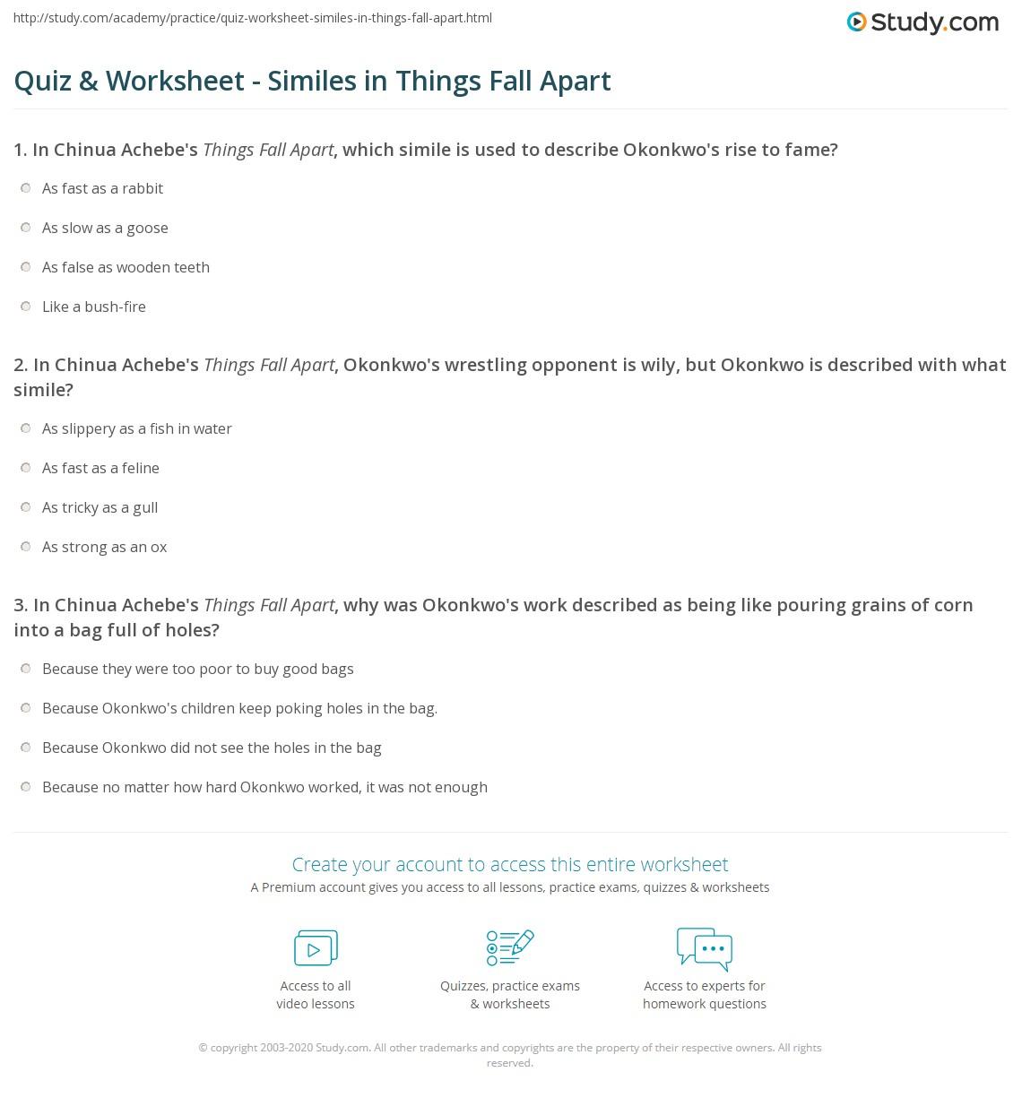Quiz & Worksheet - Similes In Things Fall Apart