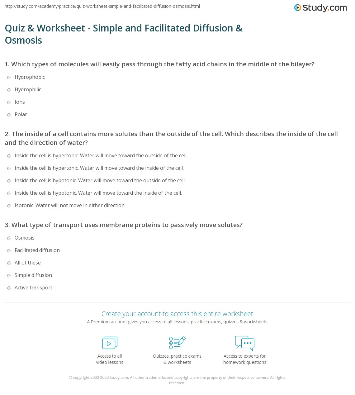 Quiz & Worksheet - Simple and Facilitated Diffusion & Osmosis ...