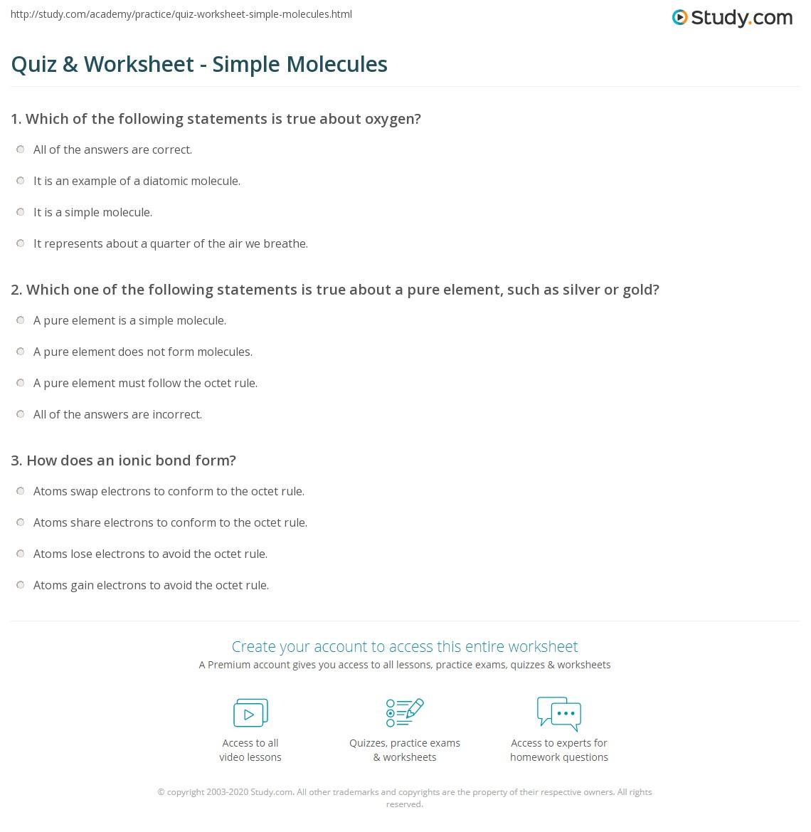 Quiz Worksheet Simple Molecules Study Com