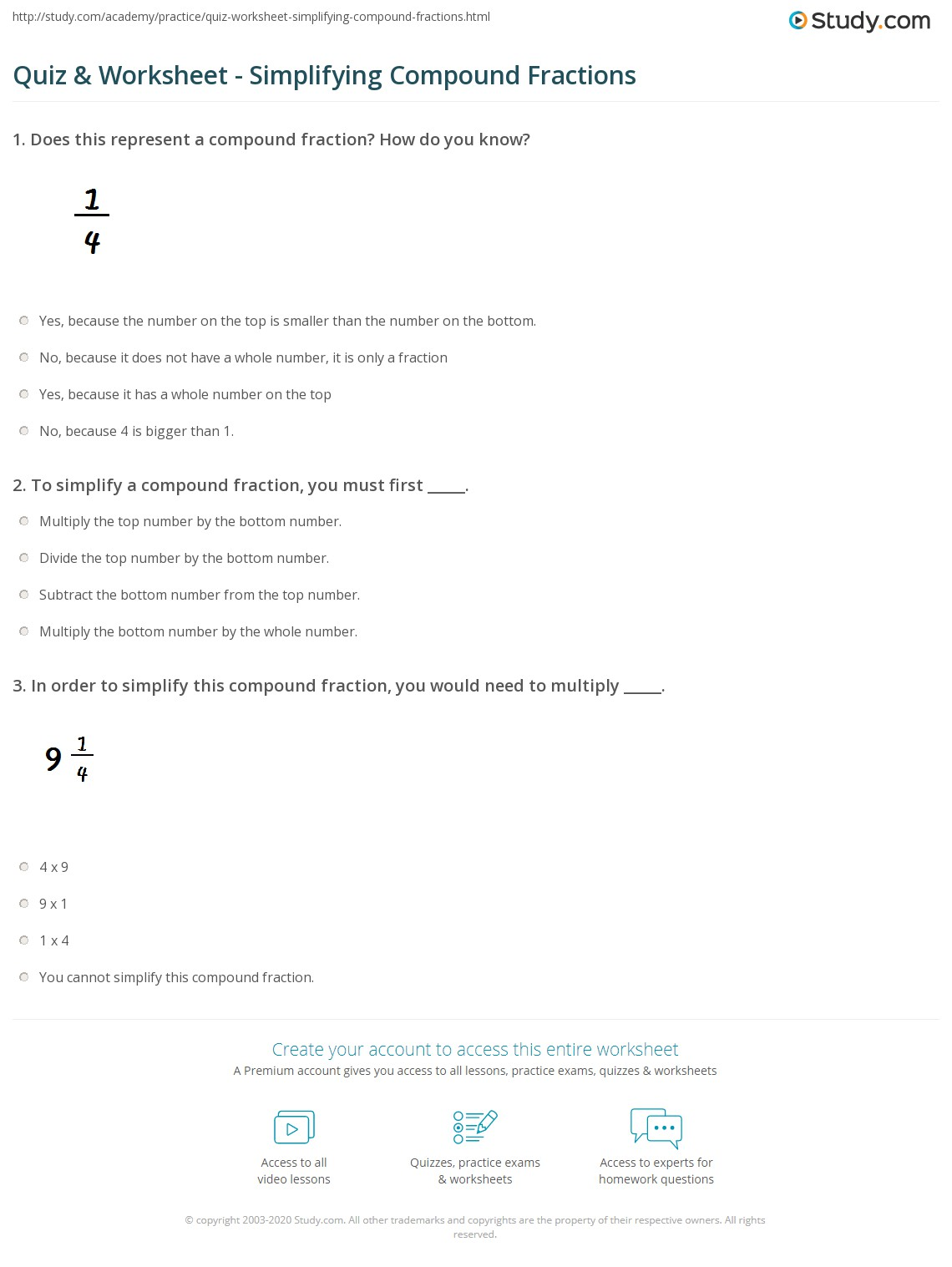 Quiz Amp Worksheet Simplifying Compound Fractions Study Com