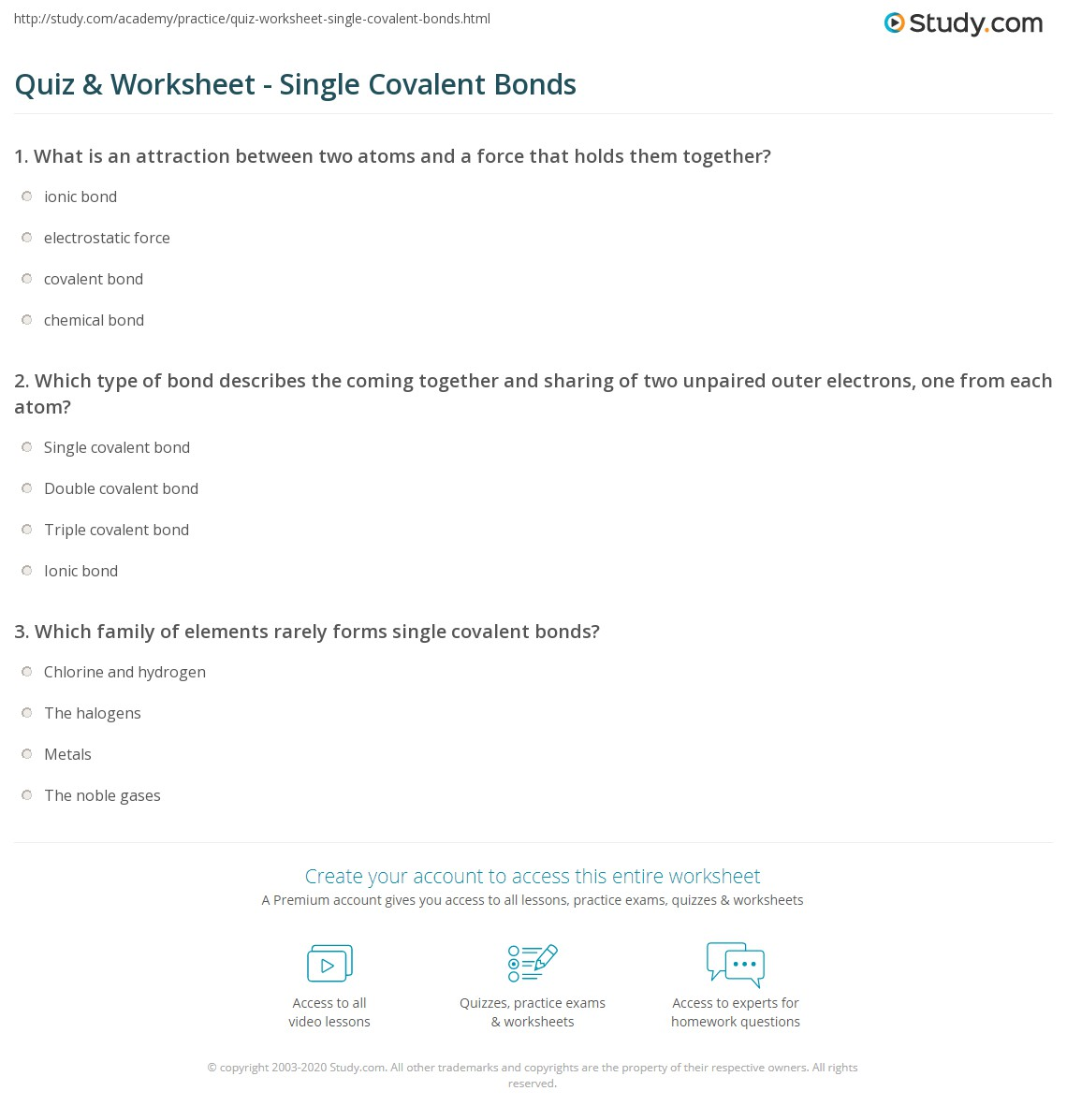 Quiz Worksheet Single Covalent Bonds Study Com