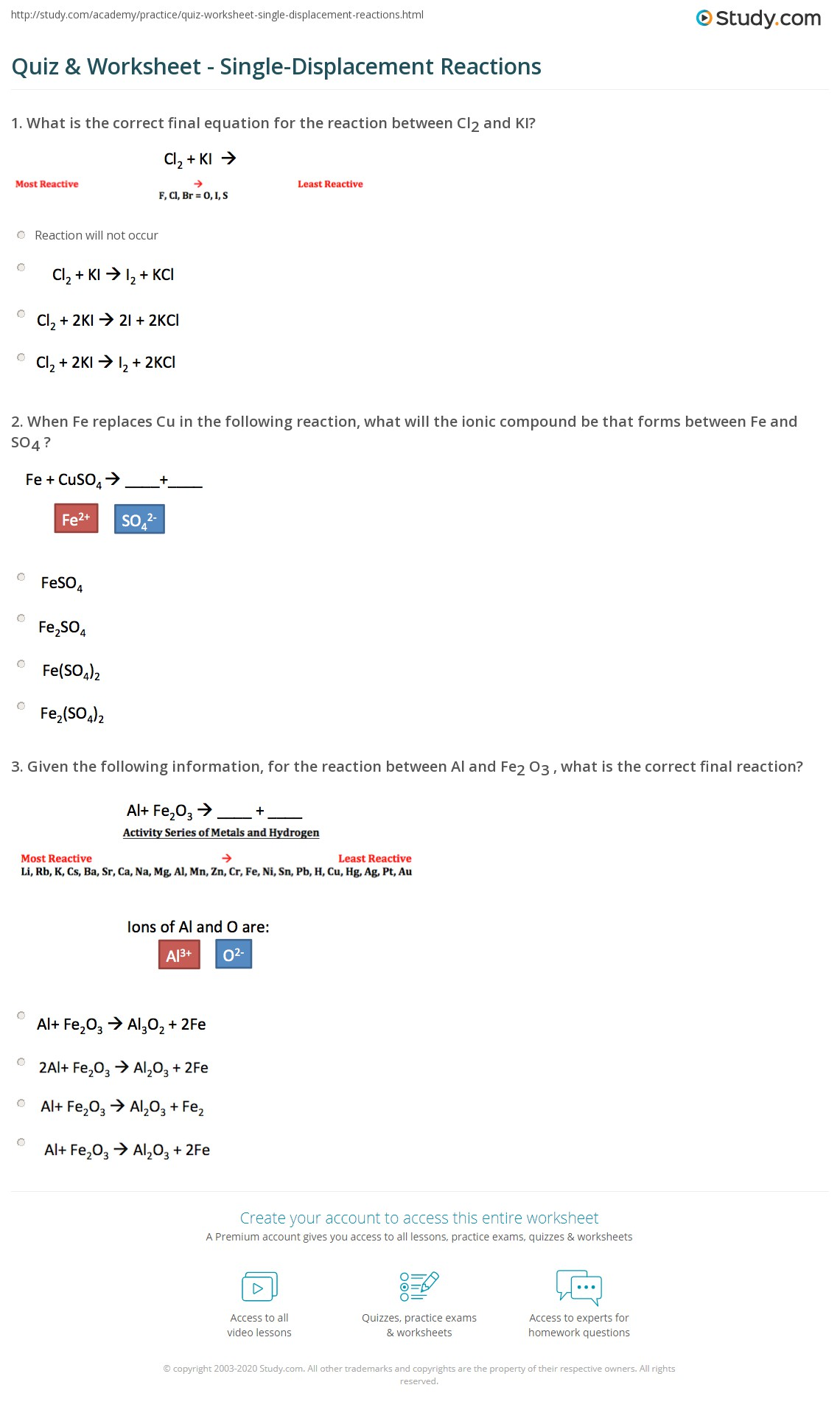 Quiz Worksheet Single Displacement Reactions Study Com
