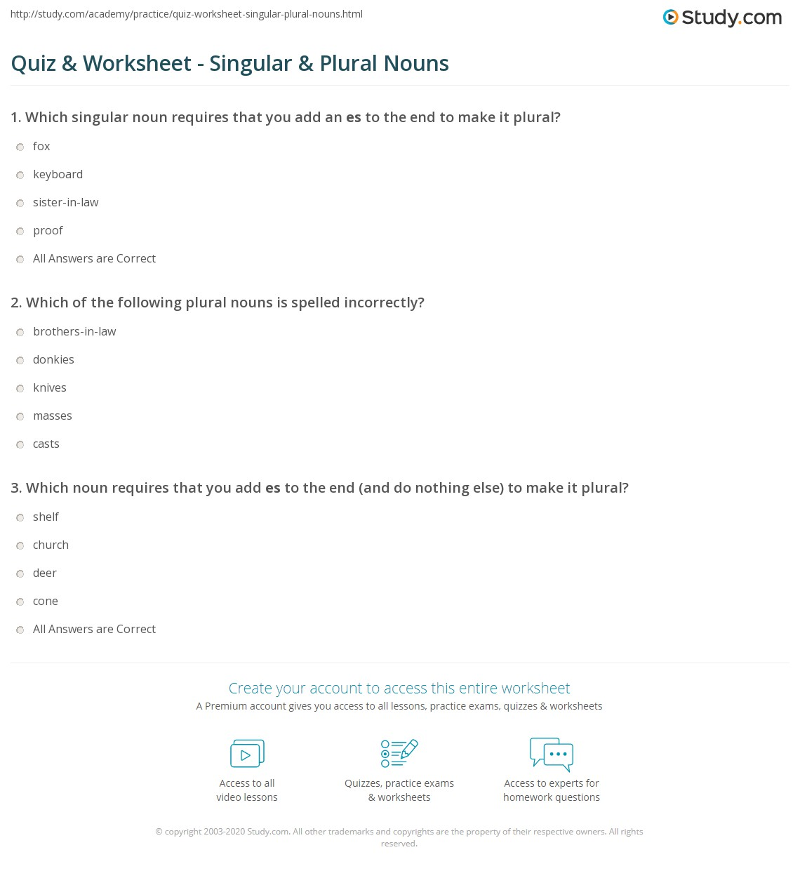 Worksheet Singular And Plural Quiz quiz worksheet singular plural nouns study com print definitions rules examples worksheet