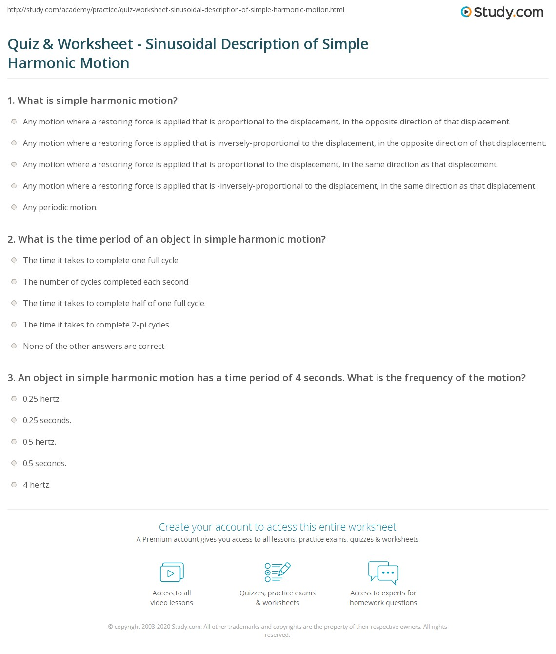 Worksheets Simple Harmonic Motion Worksheet quiz worksheet sinusoidal description of simple harmonic motion print the worksheet