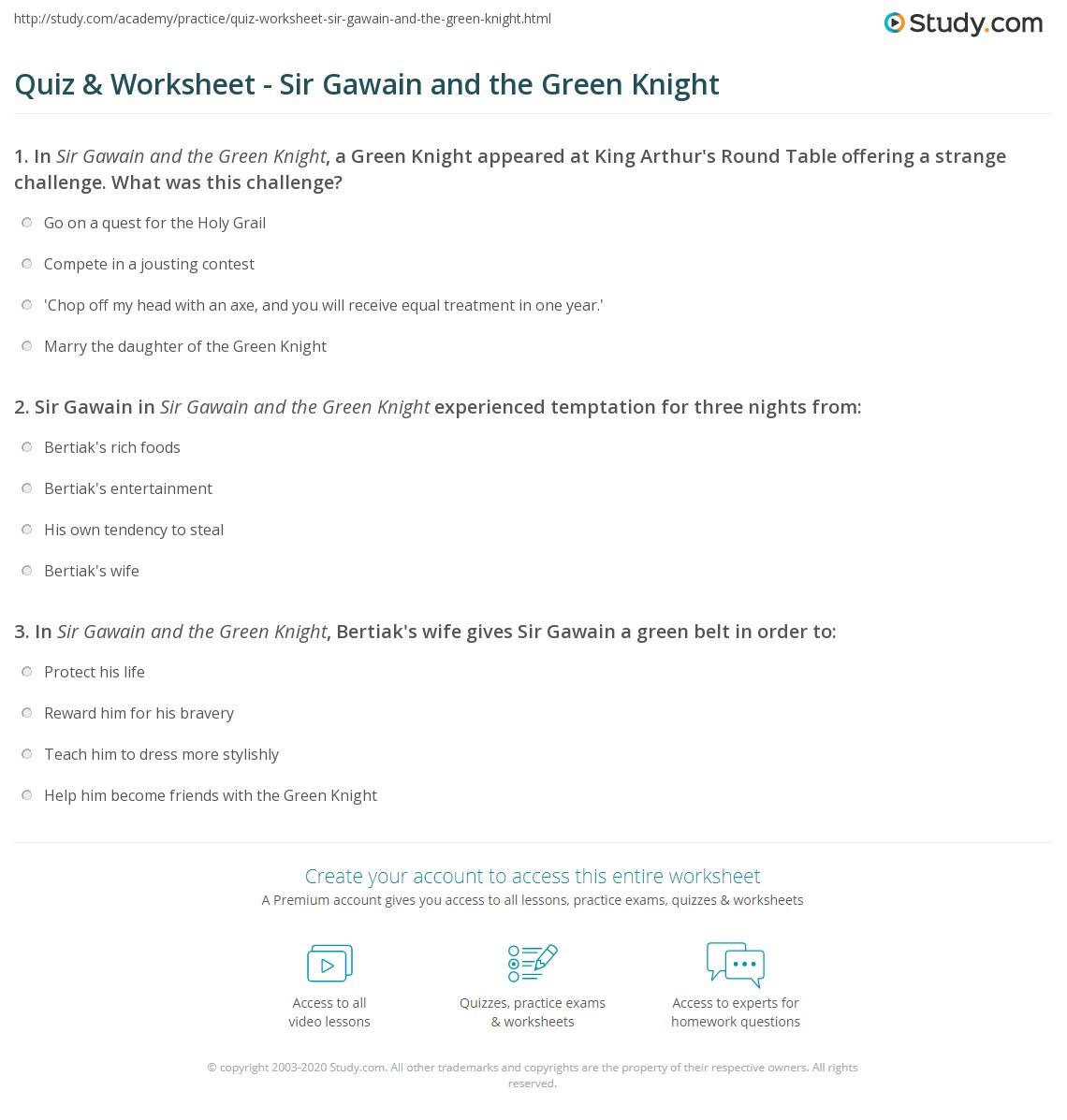 Quiz & Worksheet - Sir Gawain and the Green Knight | Study.com