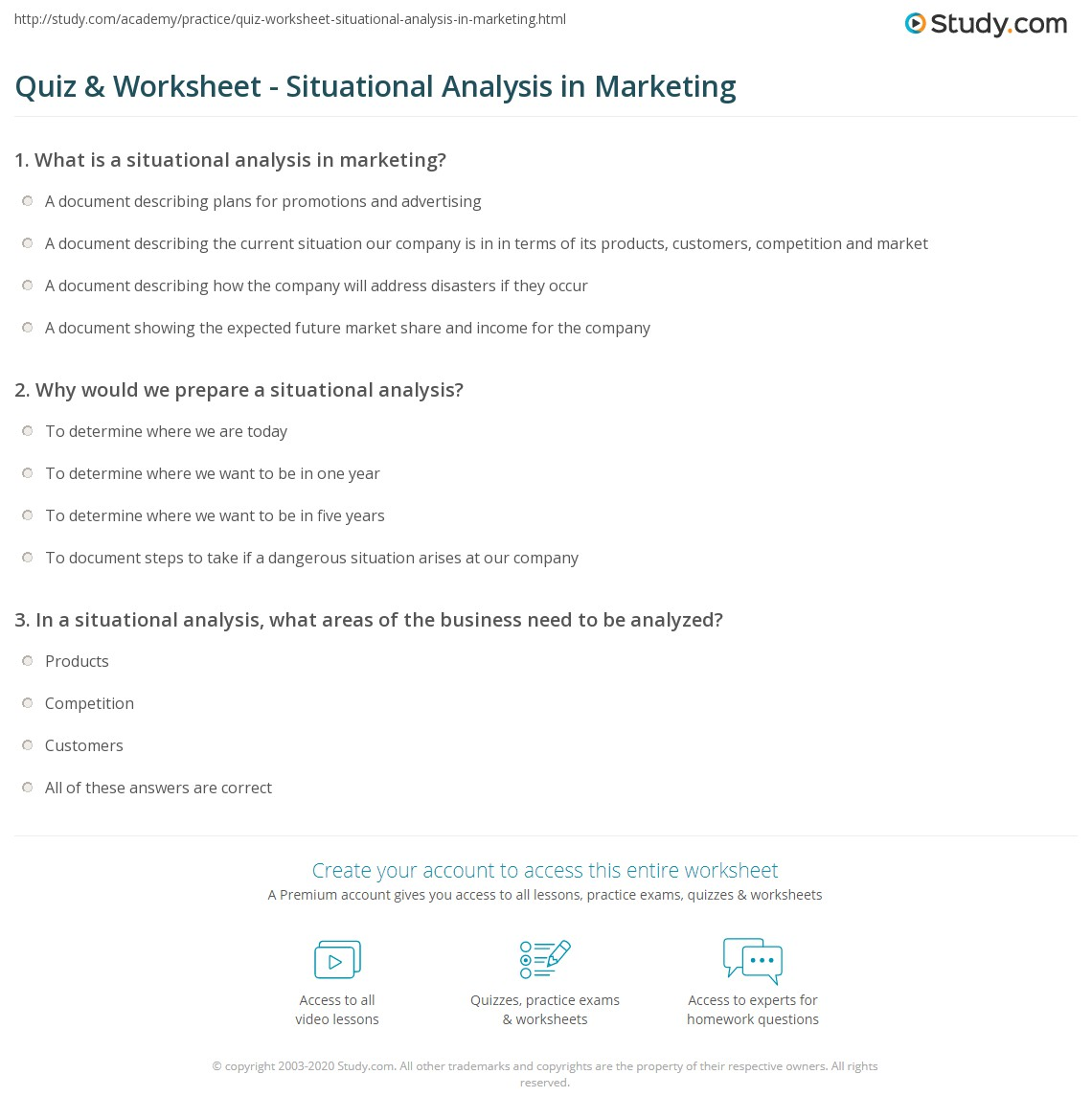 Quiz Worksheet Situational Analysis In Marketing Study