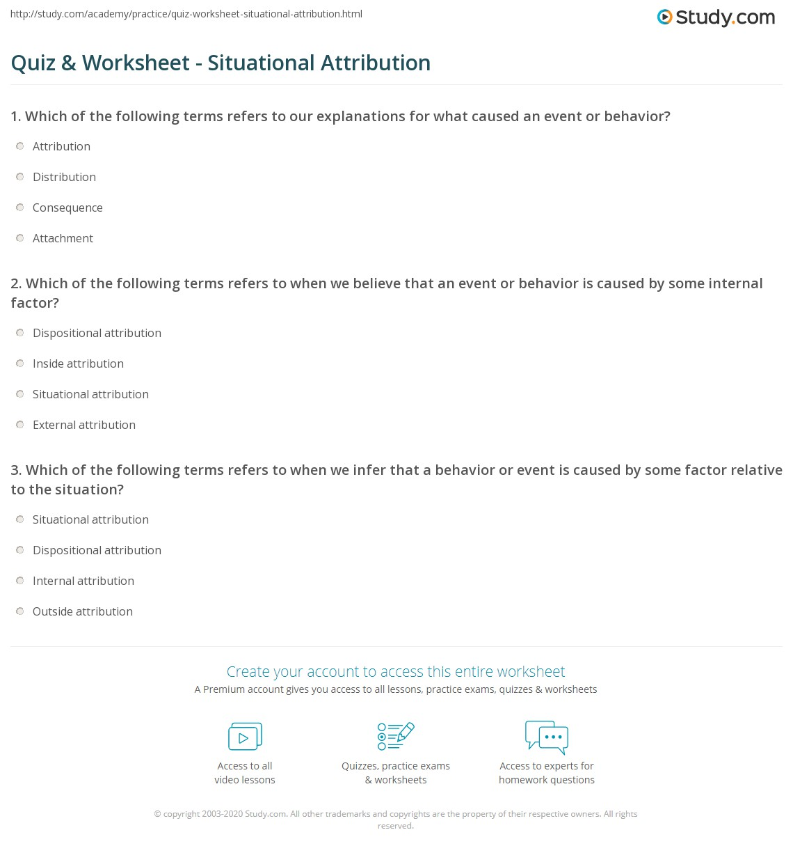 quiz worksheet situational attribution study com