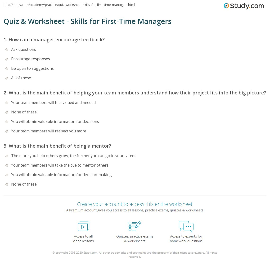 Quiz & Worksheet - Skills for First-Time Managers | Study com