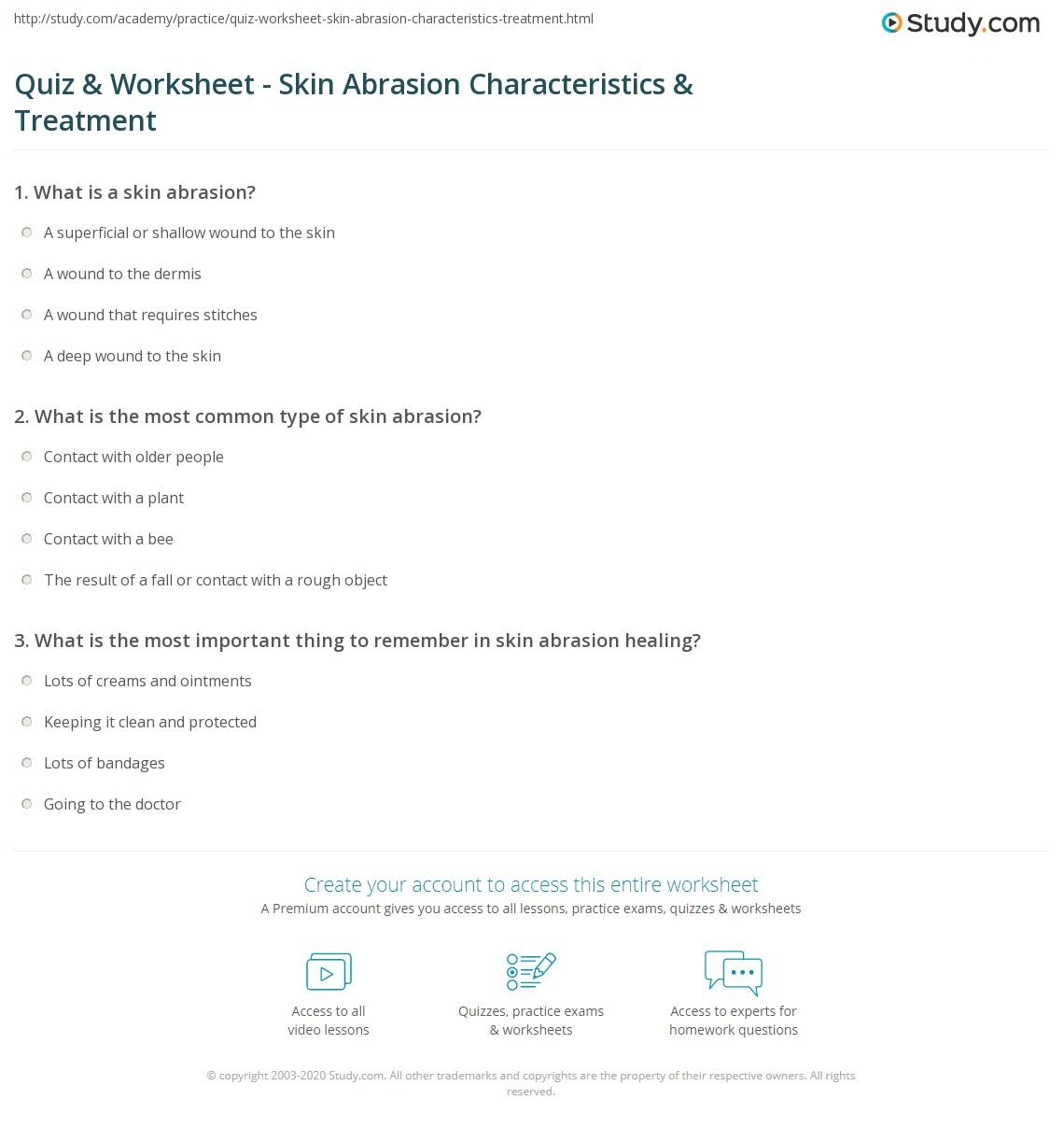 Quiz & Worksheet - Skin Abrasion Characteristics & Treatment