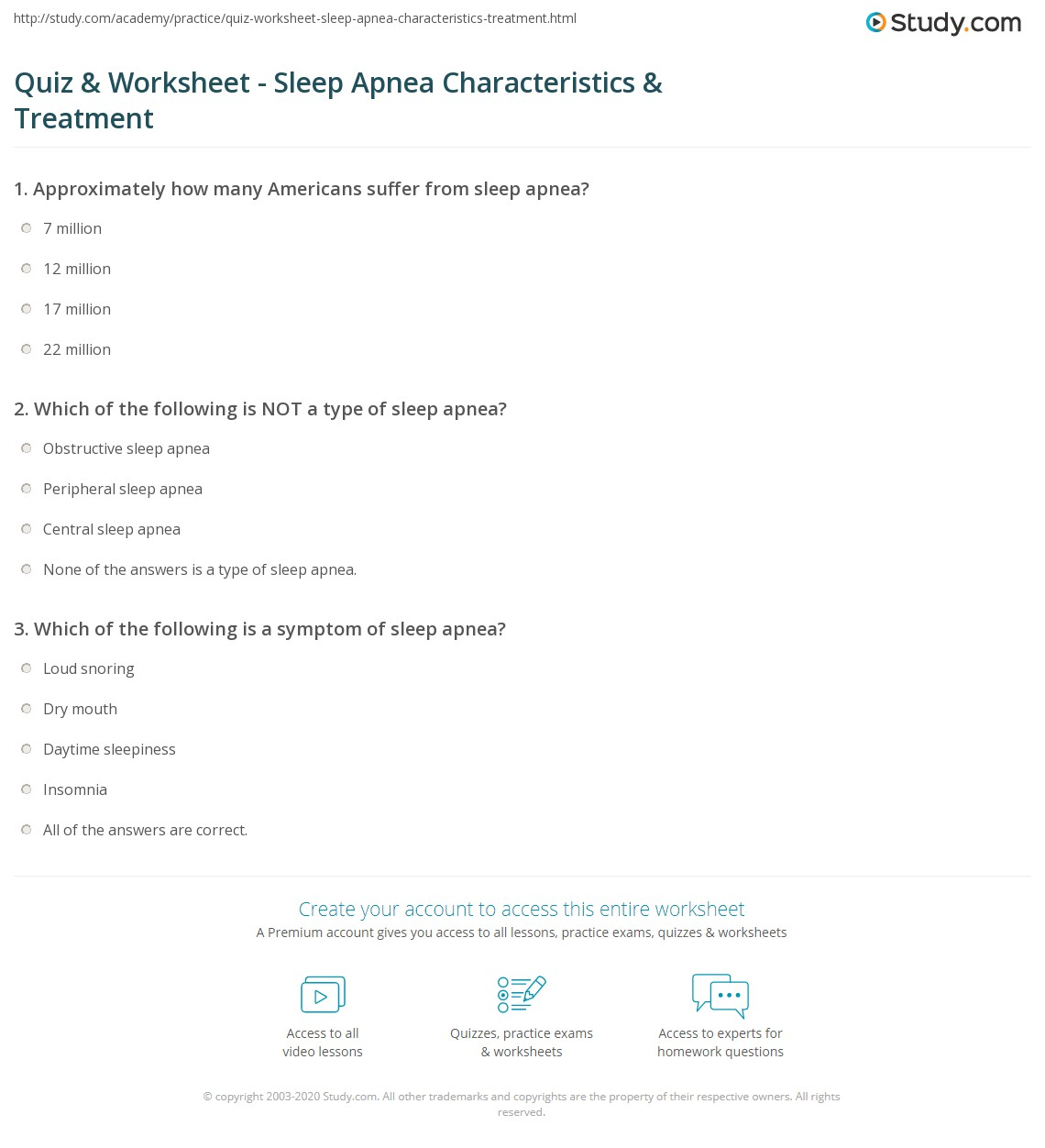 quiz & worksheet - sleep apnea characteristics & treatment | study