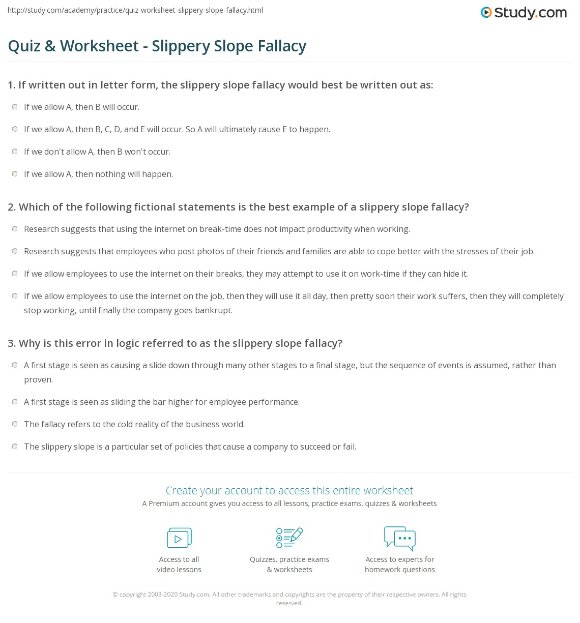 Quiz Worksheet Slippery Slope Fallacy Study