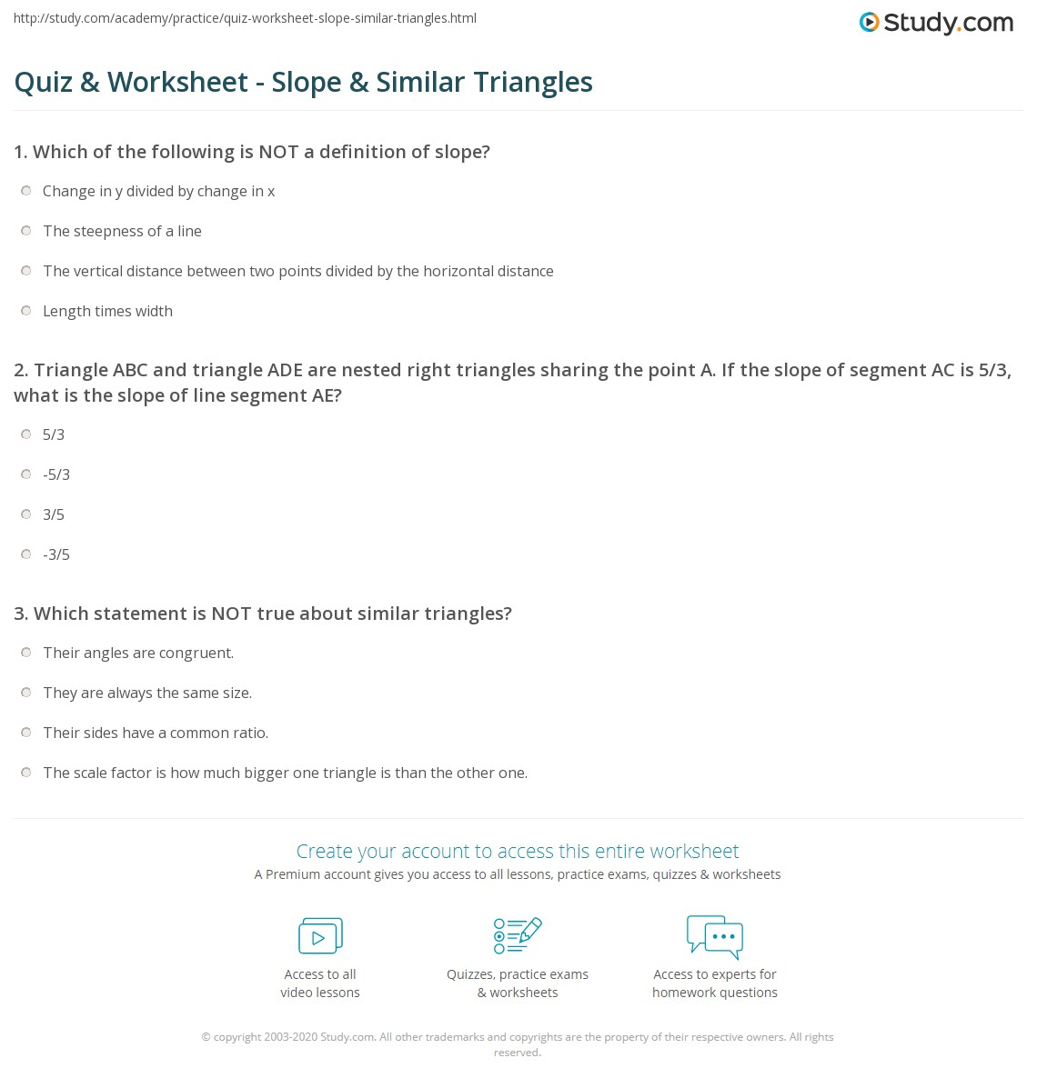 Worksheets Similar Triangle Worksheets quiz worksheet slope similar triangles study com print understanding using worksheet