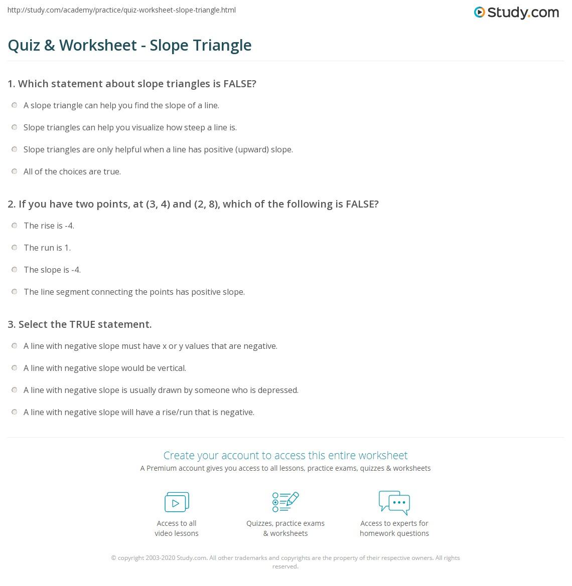 worksheet Slope Practice Worksheet quiz worksheet slope triangle study com print definition concept worksheet