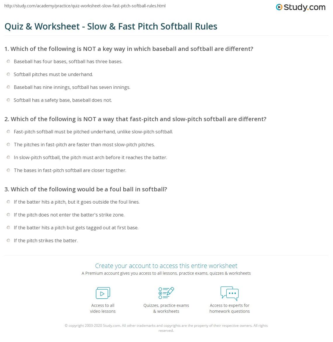 Quiz Worksheet Slow Fast Pitch Softball Rules Study