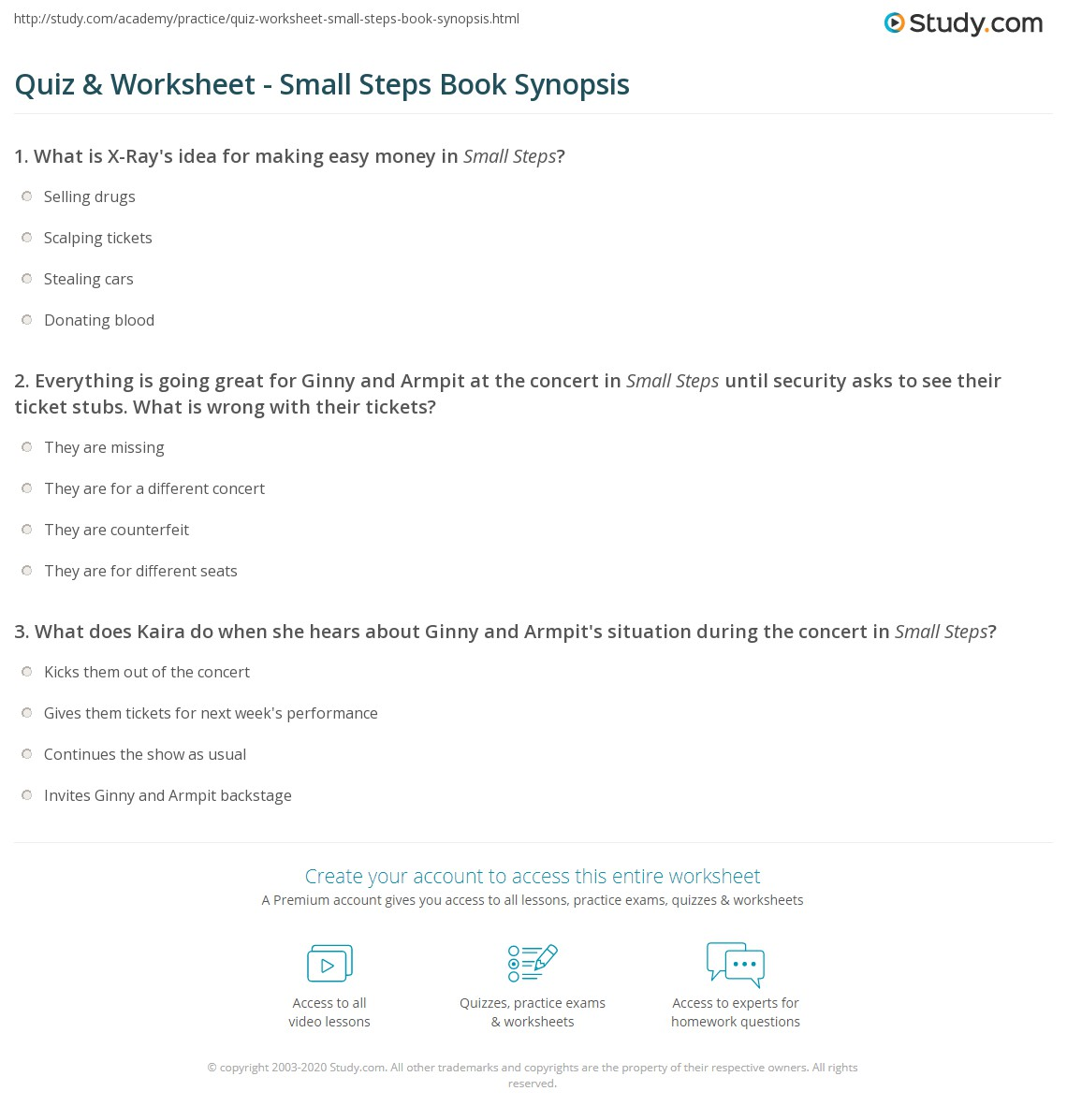 Quiz & Worksheet   Small Steps Book Synopsis | Study.com