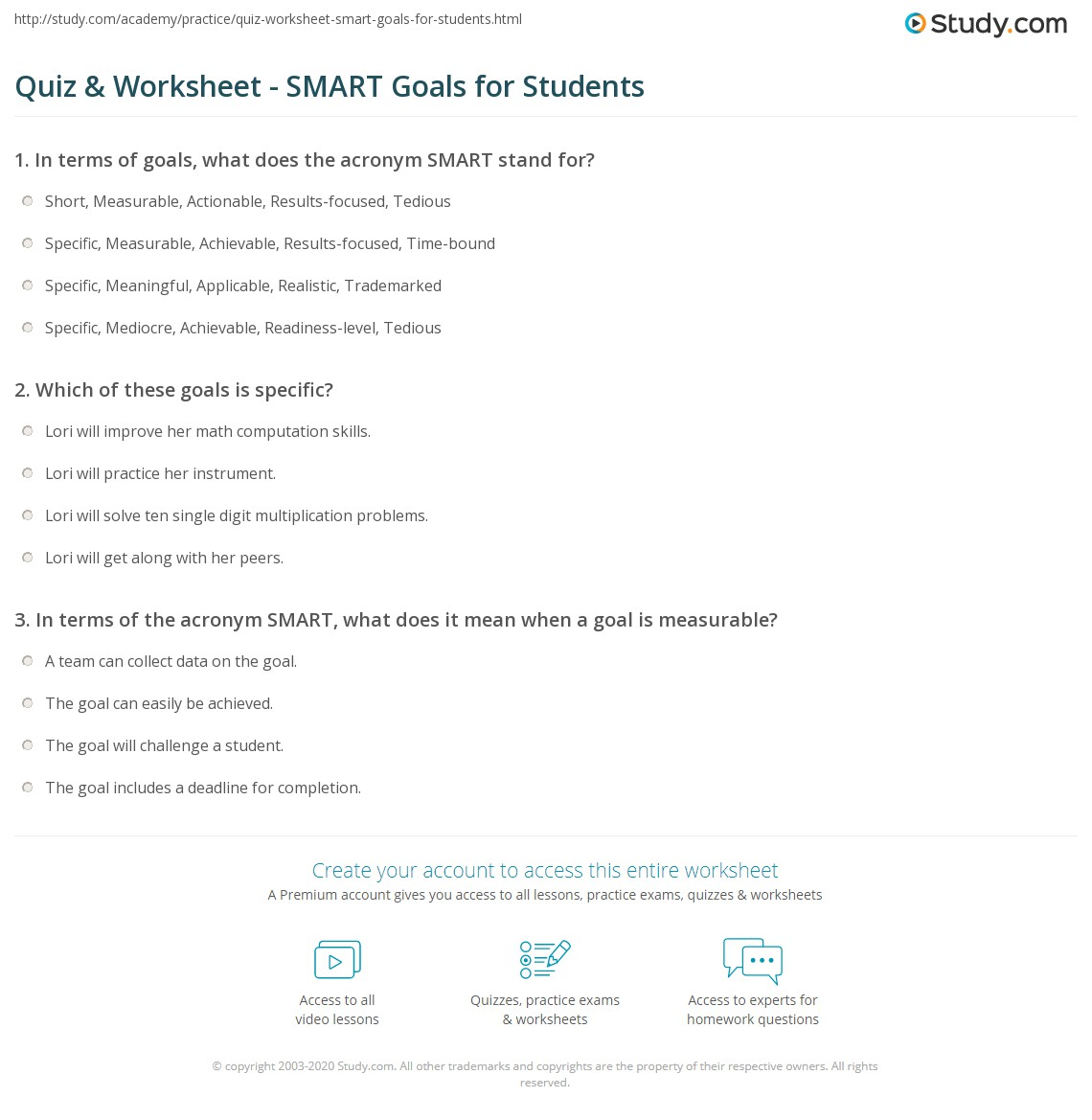 Quiz Worksheet Smart Goals For Students Study Com