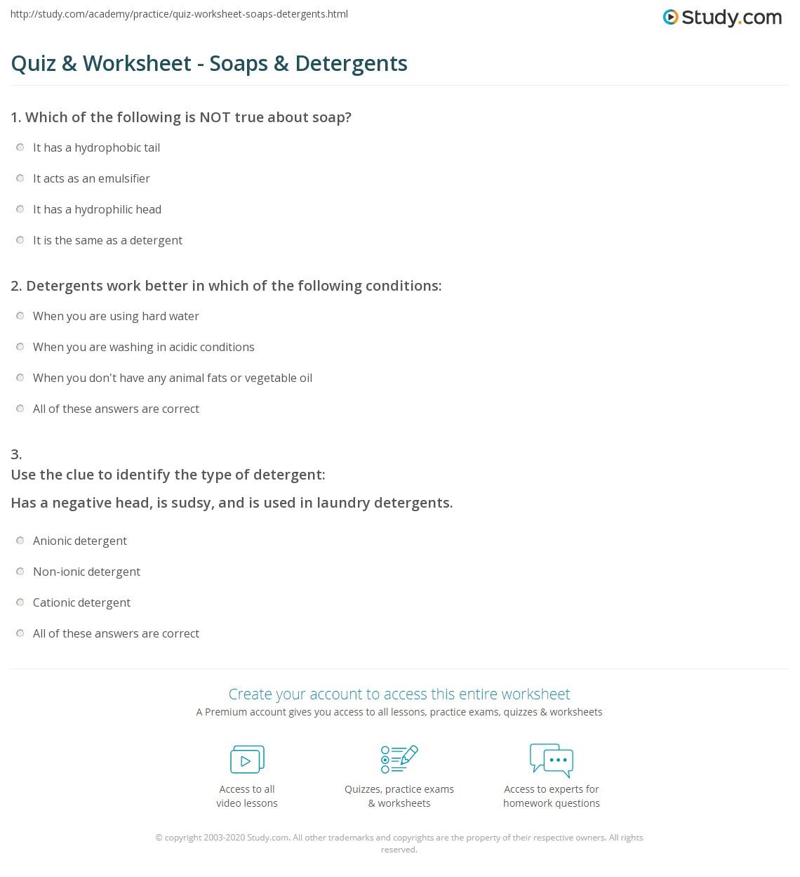 Print Soaps & Detergents: Chemistry, Types & Uses Worksheet
