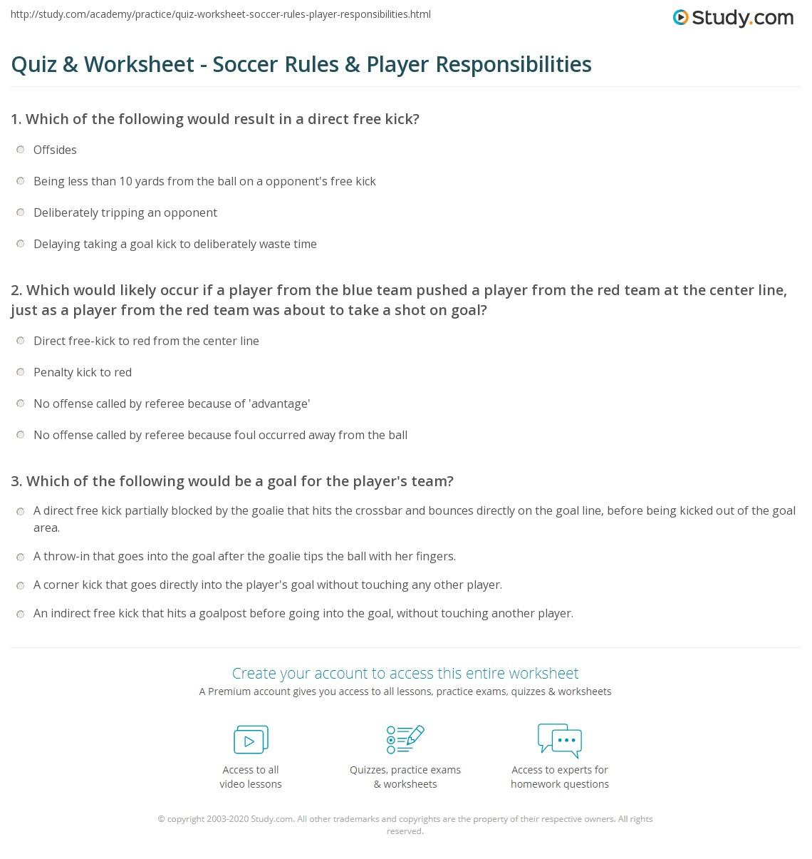 quiz worksheet soccer rules player responsibilities. Black Bedroom Furniture Sets. Home Design Ideas