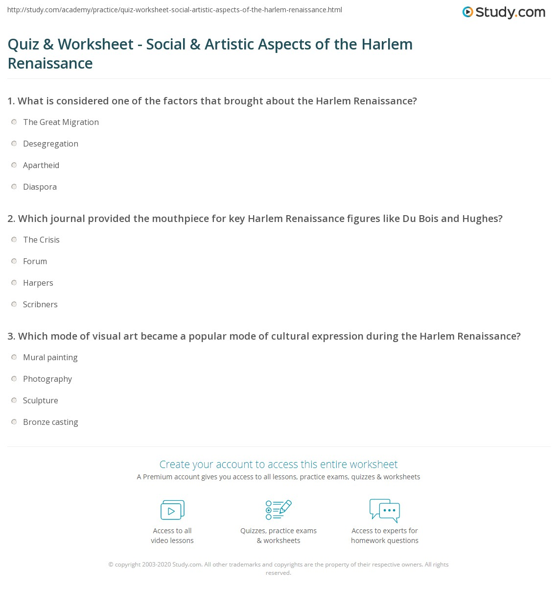 Quiz & Worksheet - Social & Artistic Aspects of the Harlem ...