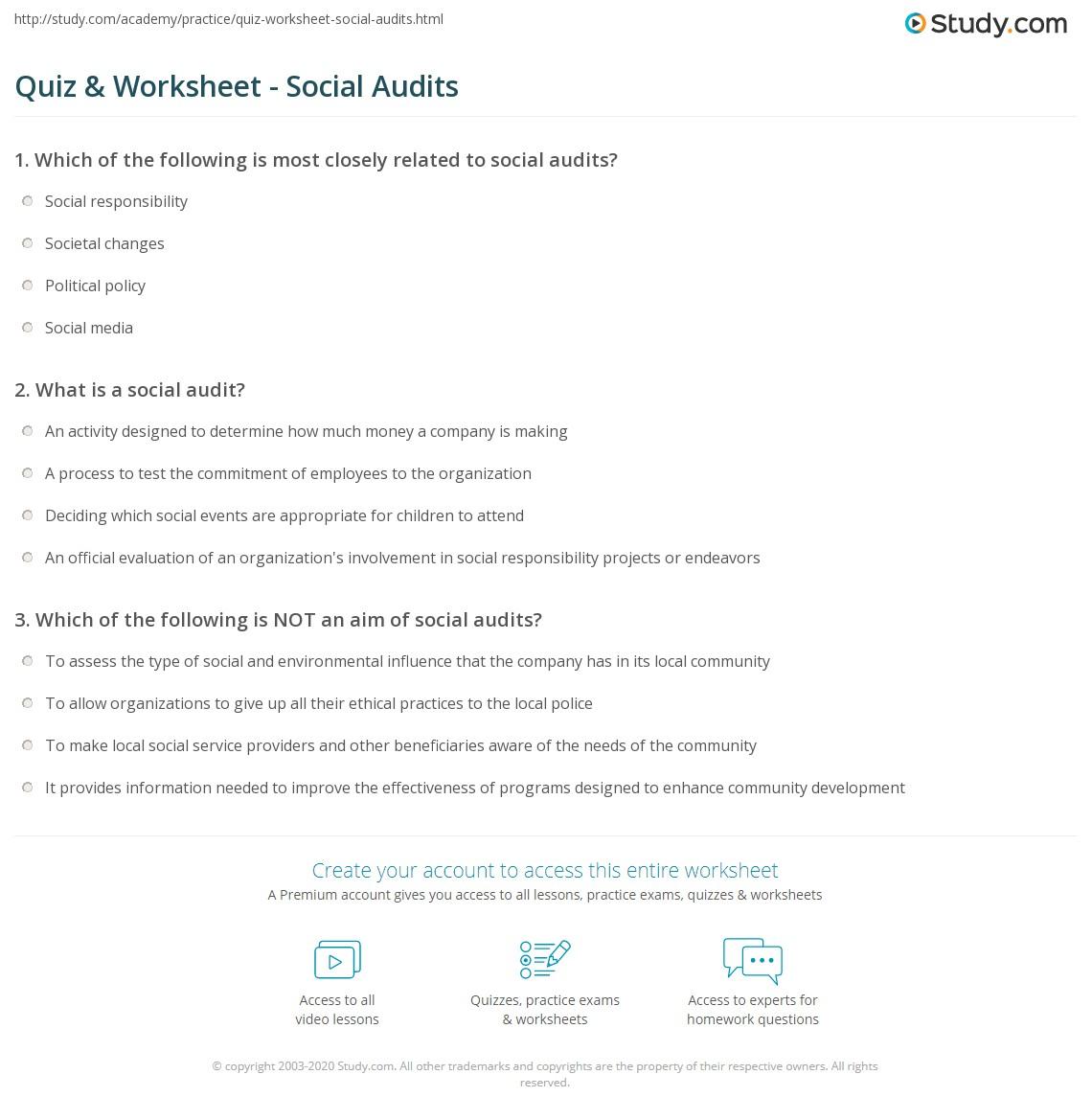 Worksheets Worksheet-audit quiz worksheet social audits study com print what is a audit definition examples worksheet