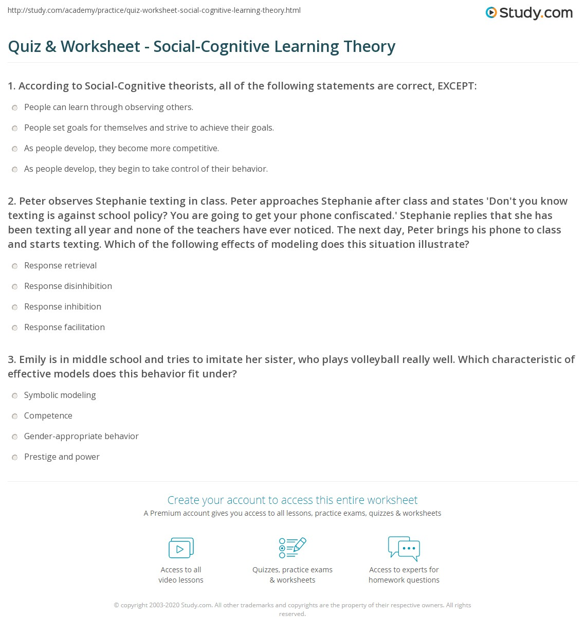 Quiz Worksheet Social Cognitive Learning Theory Study