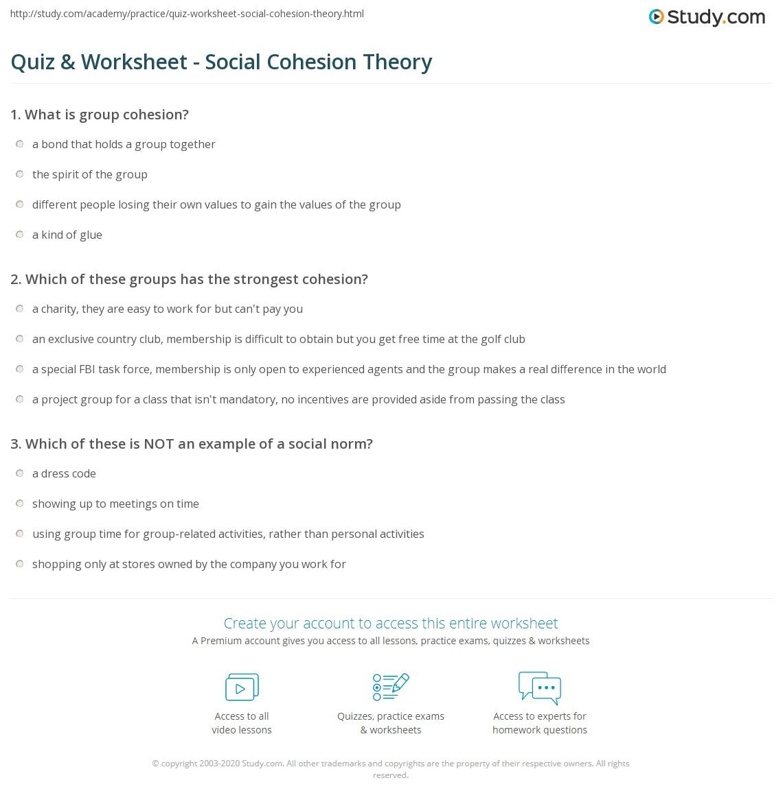 Quiz Worksheet Social Cohesion Theory Study
