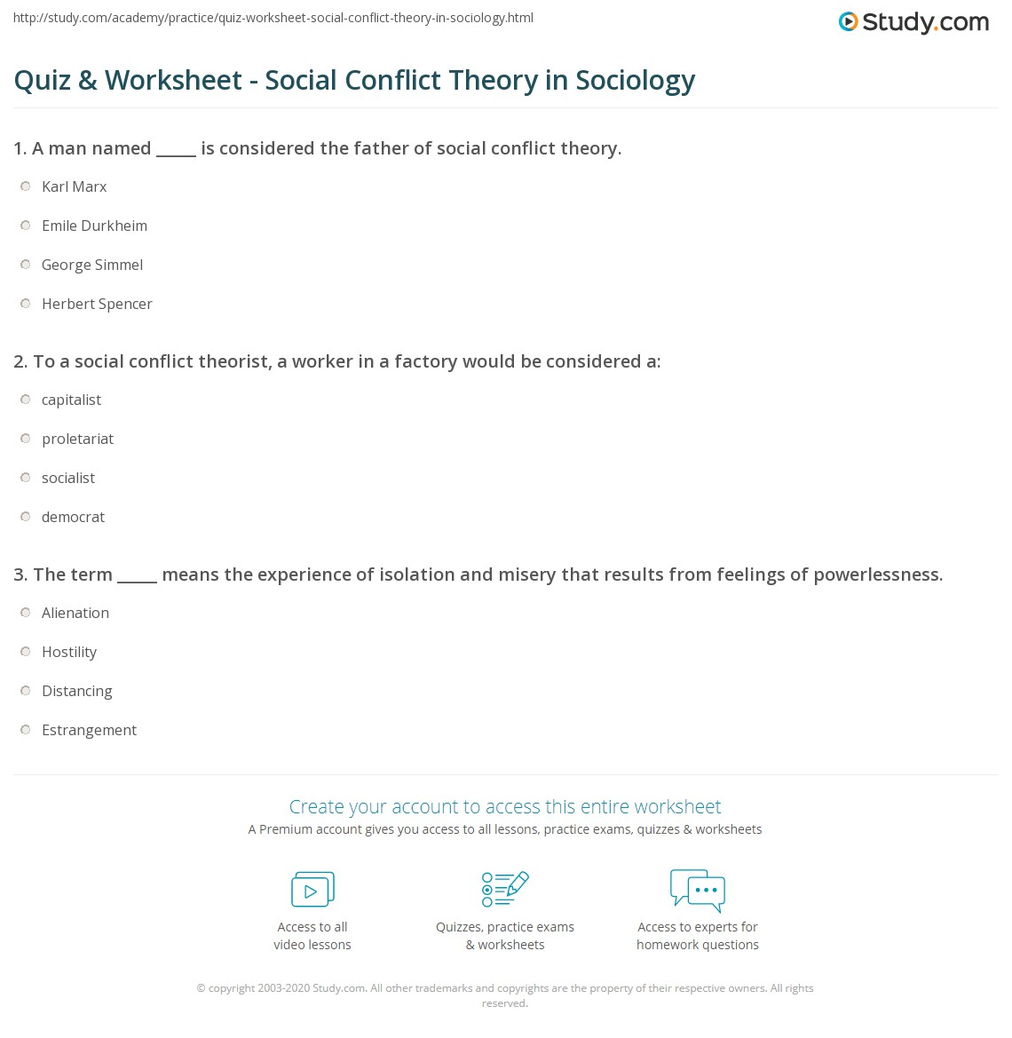 Worksheets For Sociology : Quiz worksheet social conflict theory in sociology