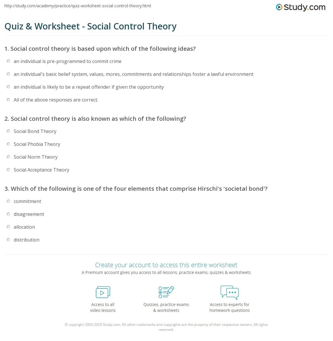 quiz worksheet social control theory. Black Bedroom Furniture Sets. Home Design Ideas