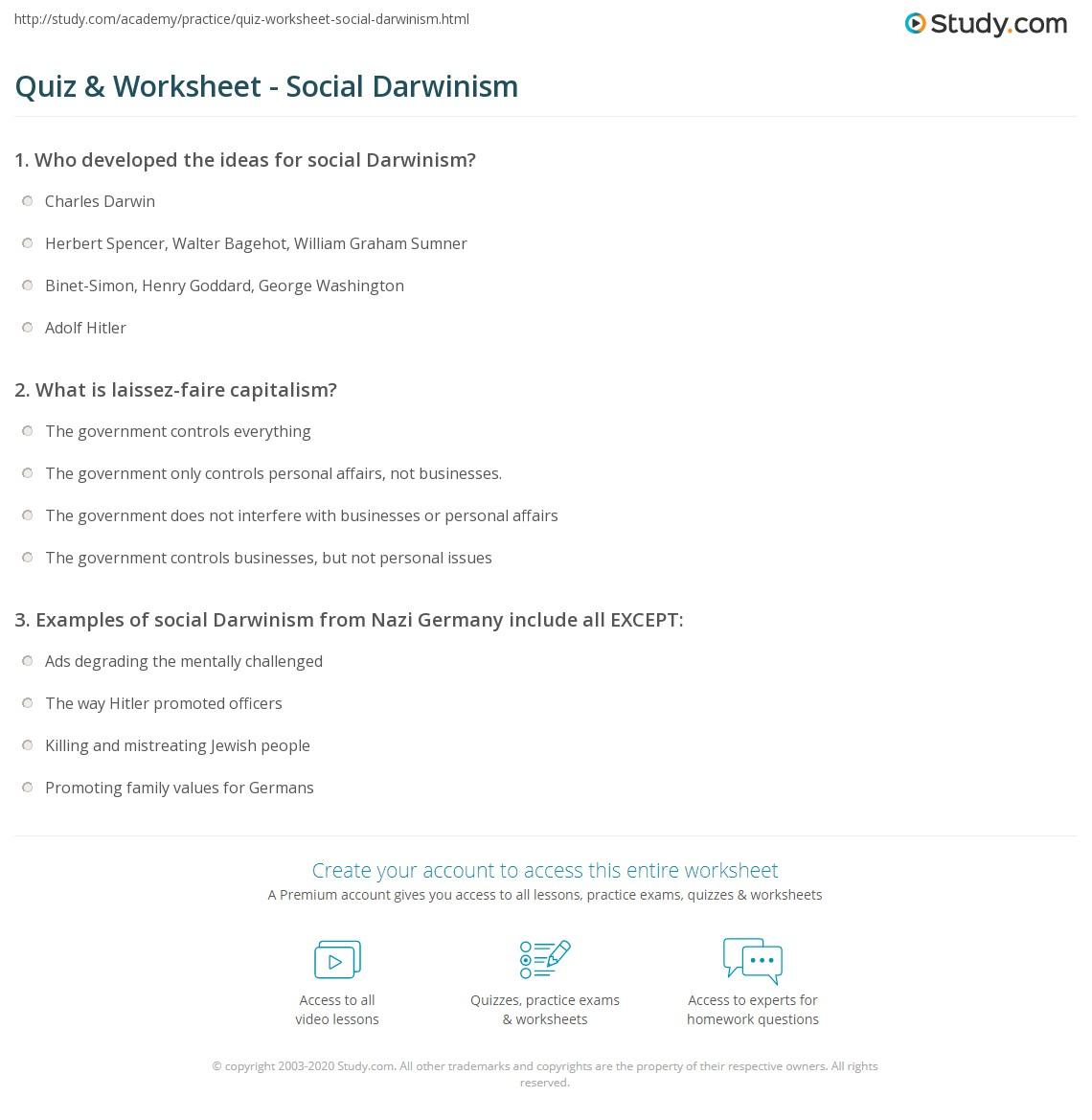 quiz worksheet social darwinism. Black Bedroom Furniture Sets. Home Design Ideas