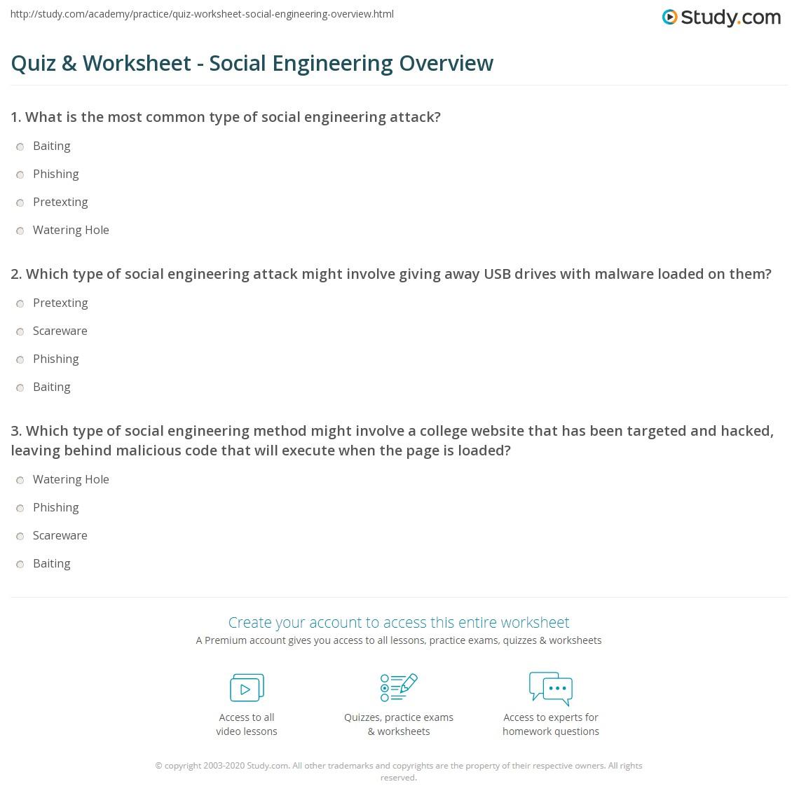 quiz & worksheet - social engineering overview | study