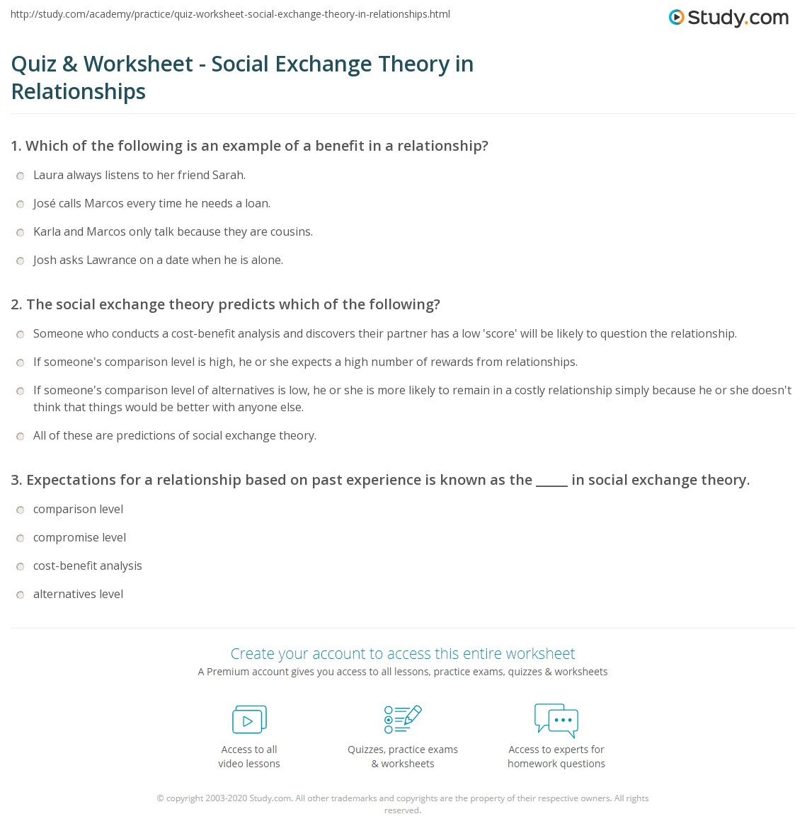 quiz worksheet social exchange theory in relationships com print social exchange theory in relationships definition examples predictions worksheet