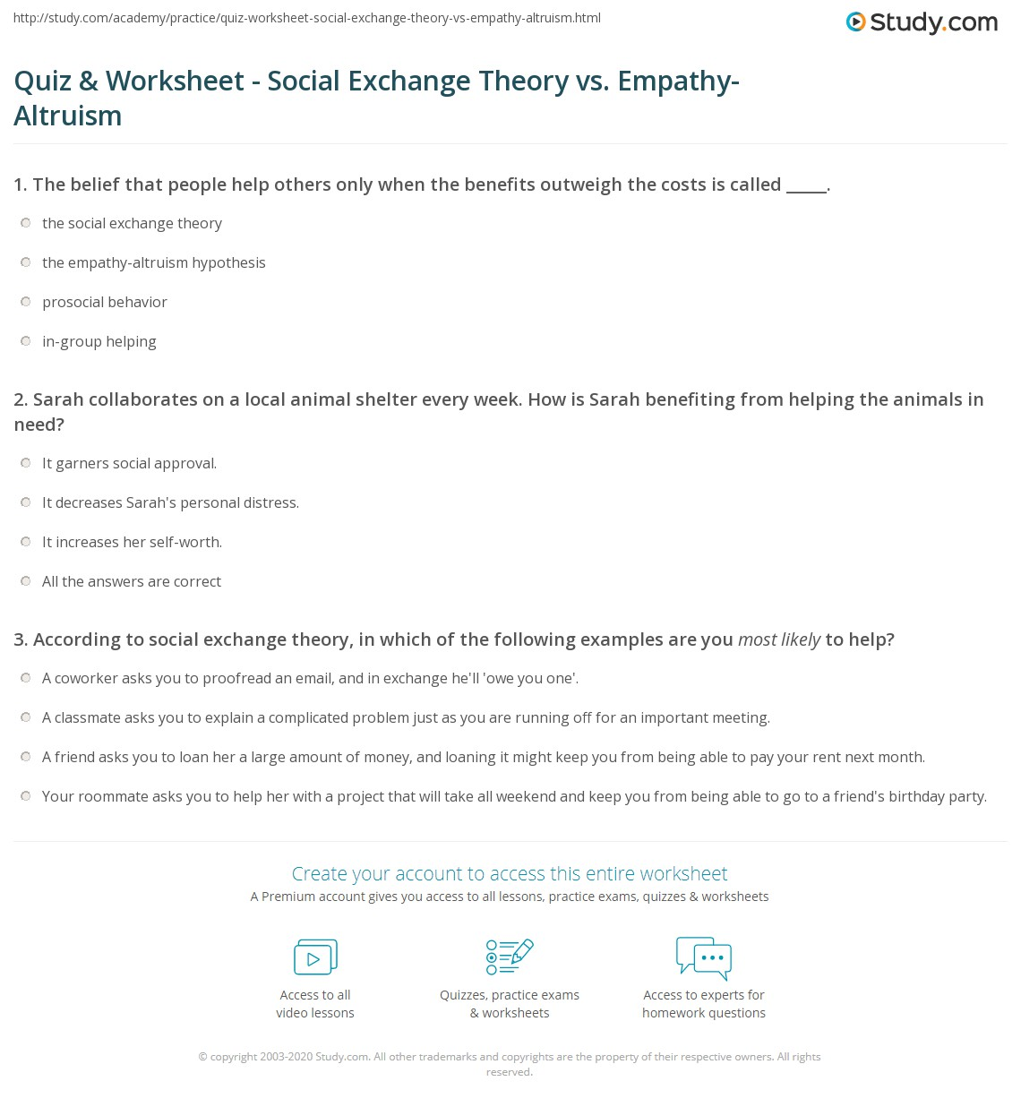 quiz worksheet social exchange theory vs empathy altruism  empathy altruism worksheet