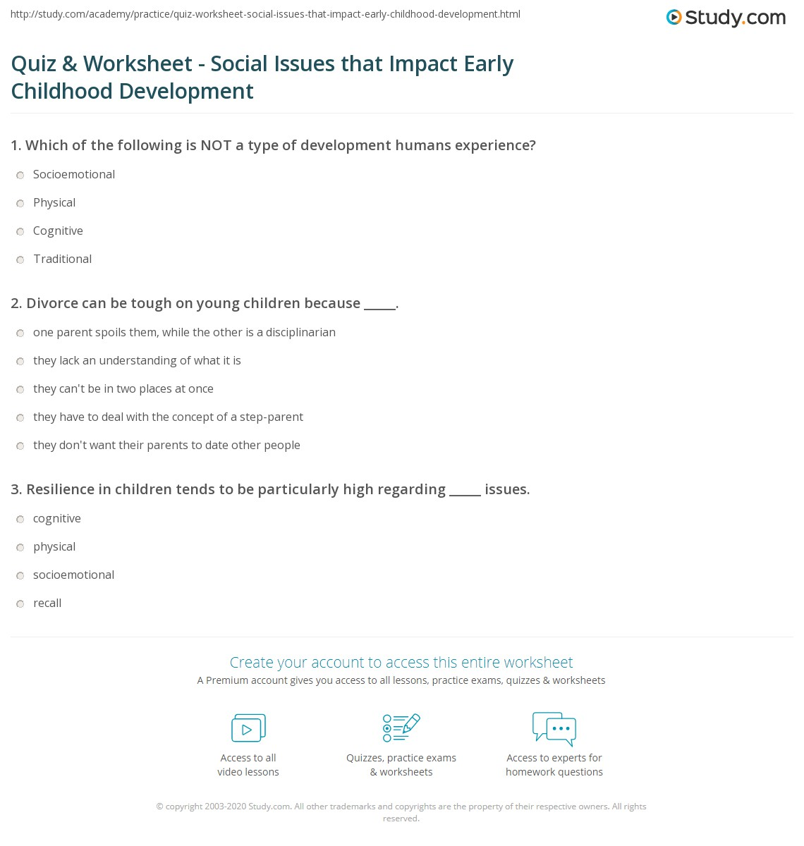 quiz worksheet social issues that impact early childhood  print social issues that impact early childhood development worksheet