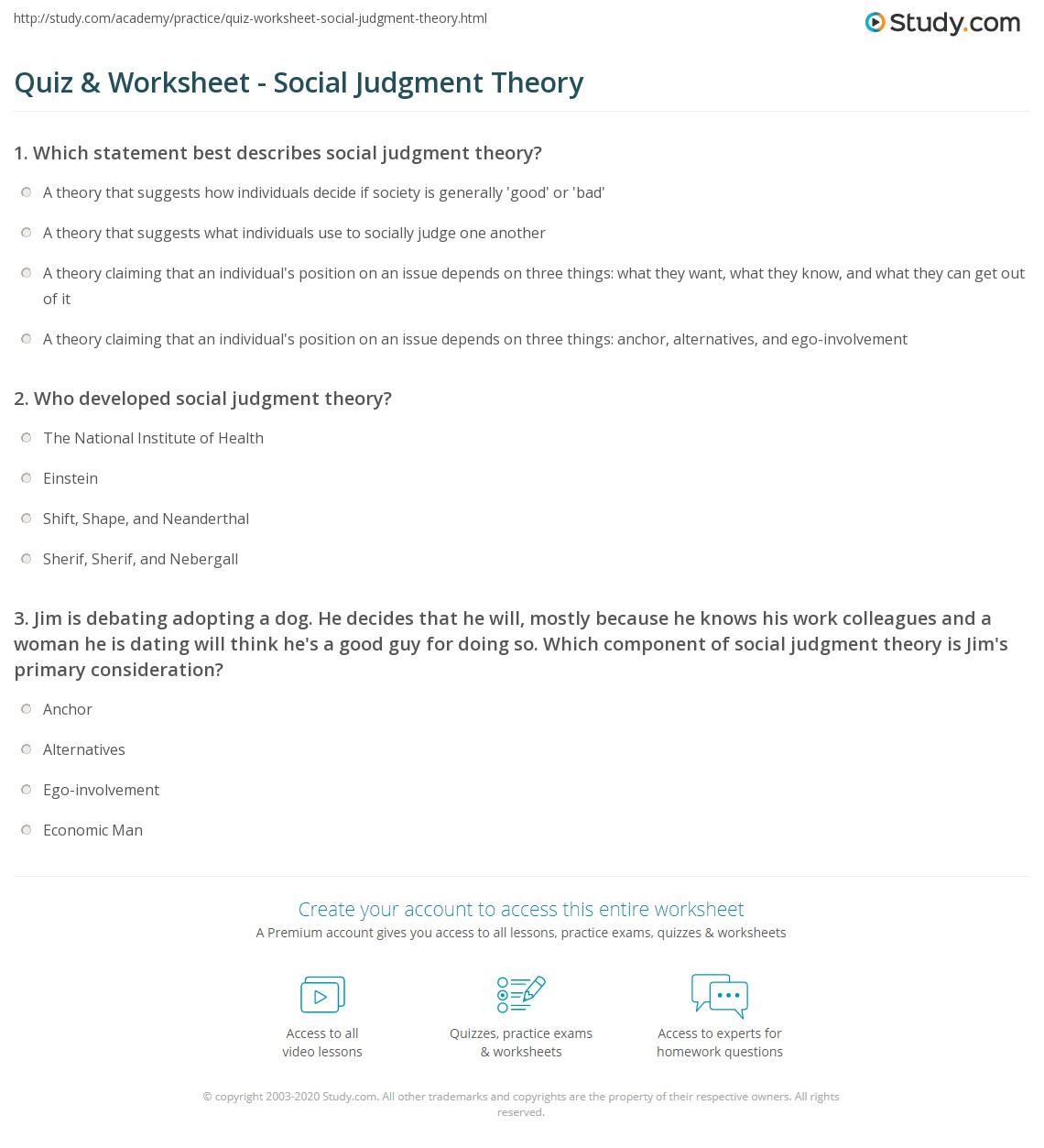 quiz worksheet social judgment theory com print what is social judgment theory definition examples worksheet